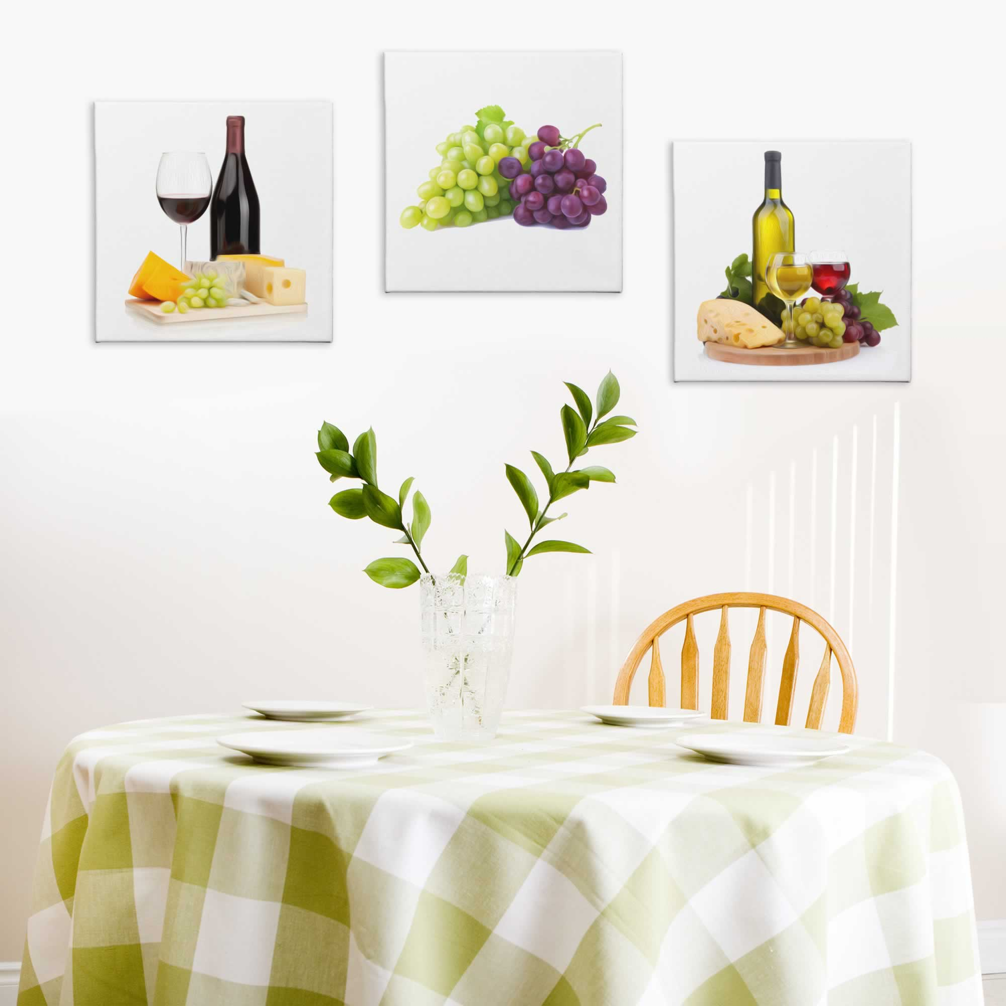 Wine and Cheese - Contemporary giclee Painting Print on Canvas - Lifestyle Image