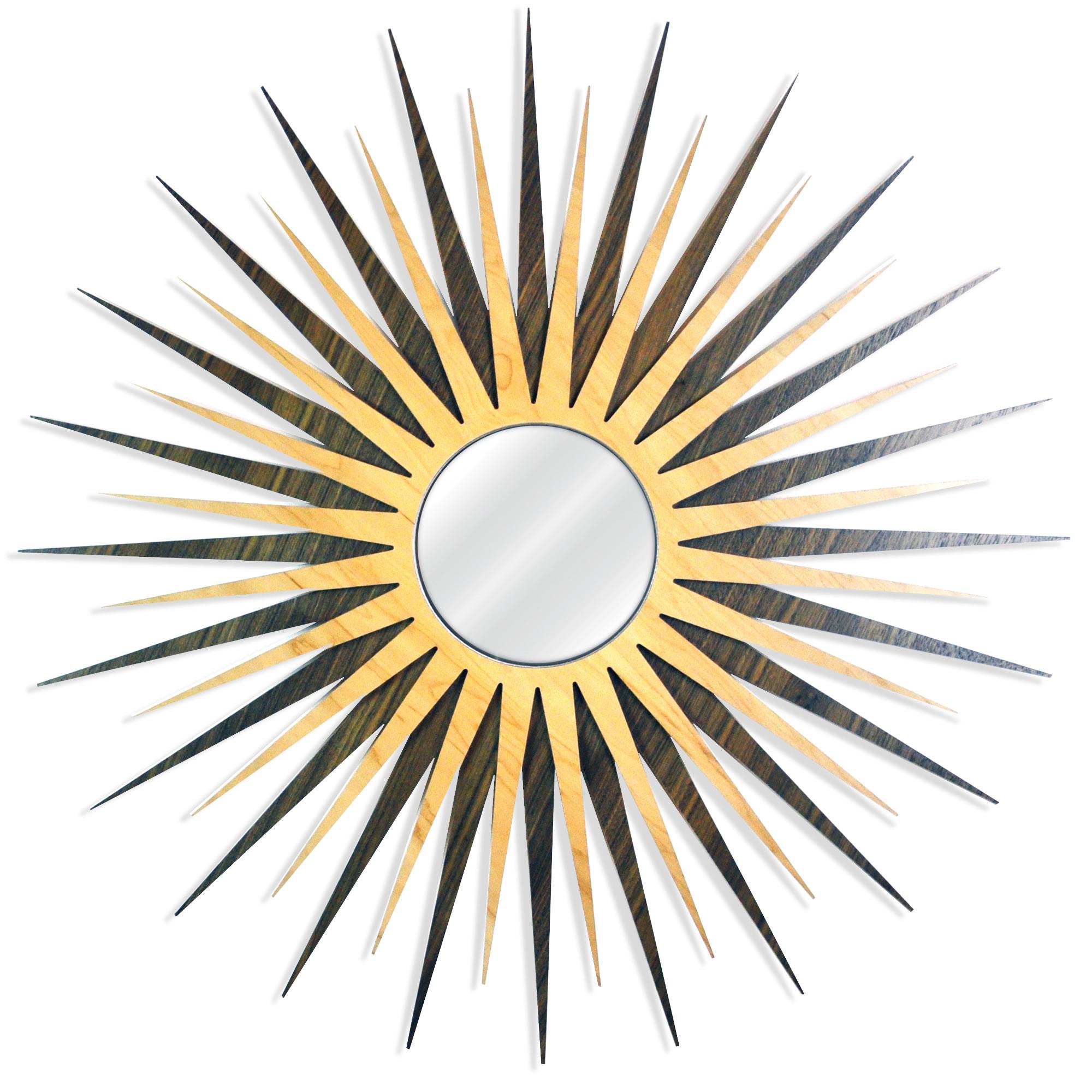 Midcentury Modern Decor 'MCM Starburst Mirror-Mahogany Maple' - Mahogany/Maple Plywood Wooden Sunburst Mirror