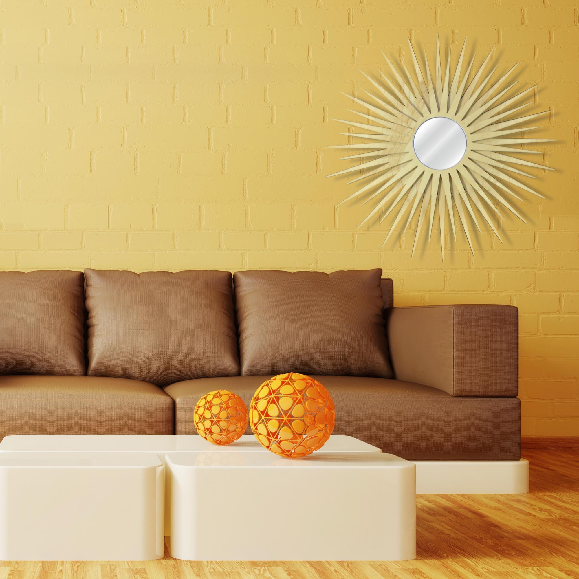 Midcentury Modern Decor 'MCM Starburst Mirror-Maple' - Maple Plywood Wooden Sunburst Mirror - Lifestyle View