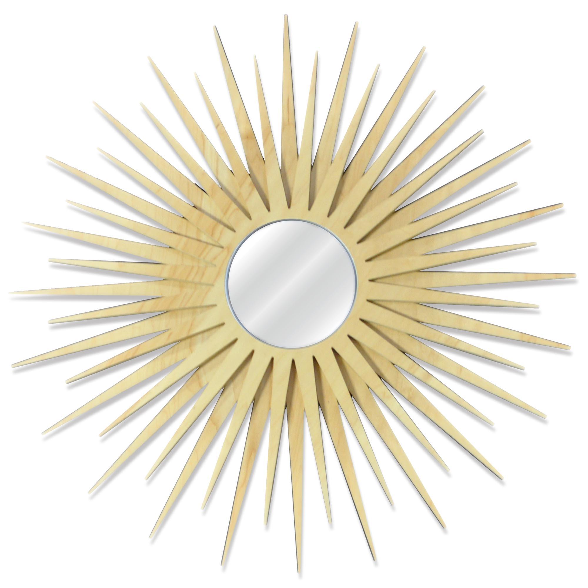 Midcentury Modern Decor 'MCM Starburst Mirror-Maple' - Maple Plywood Wooden Sunburst Mirror