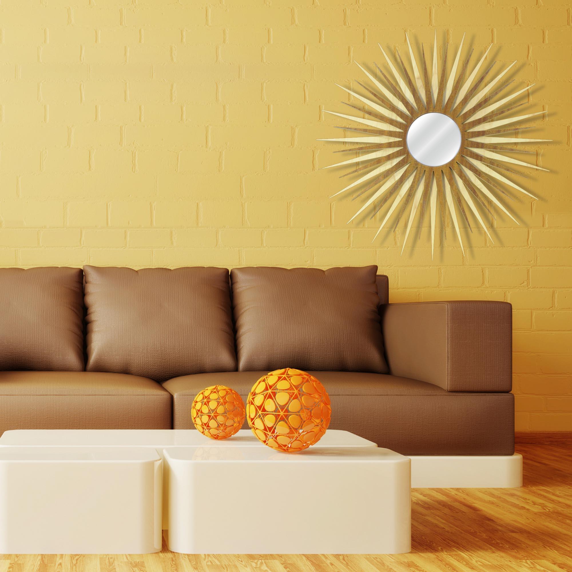 Midcentury Modern Decor 'MCM Starburst Mirror-Maple Mahogany' - Maple/Mahogany Plywood Wooden Sunburst Mirror - Lifestyle View