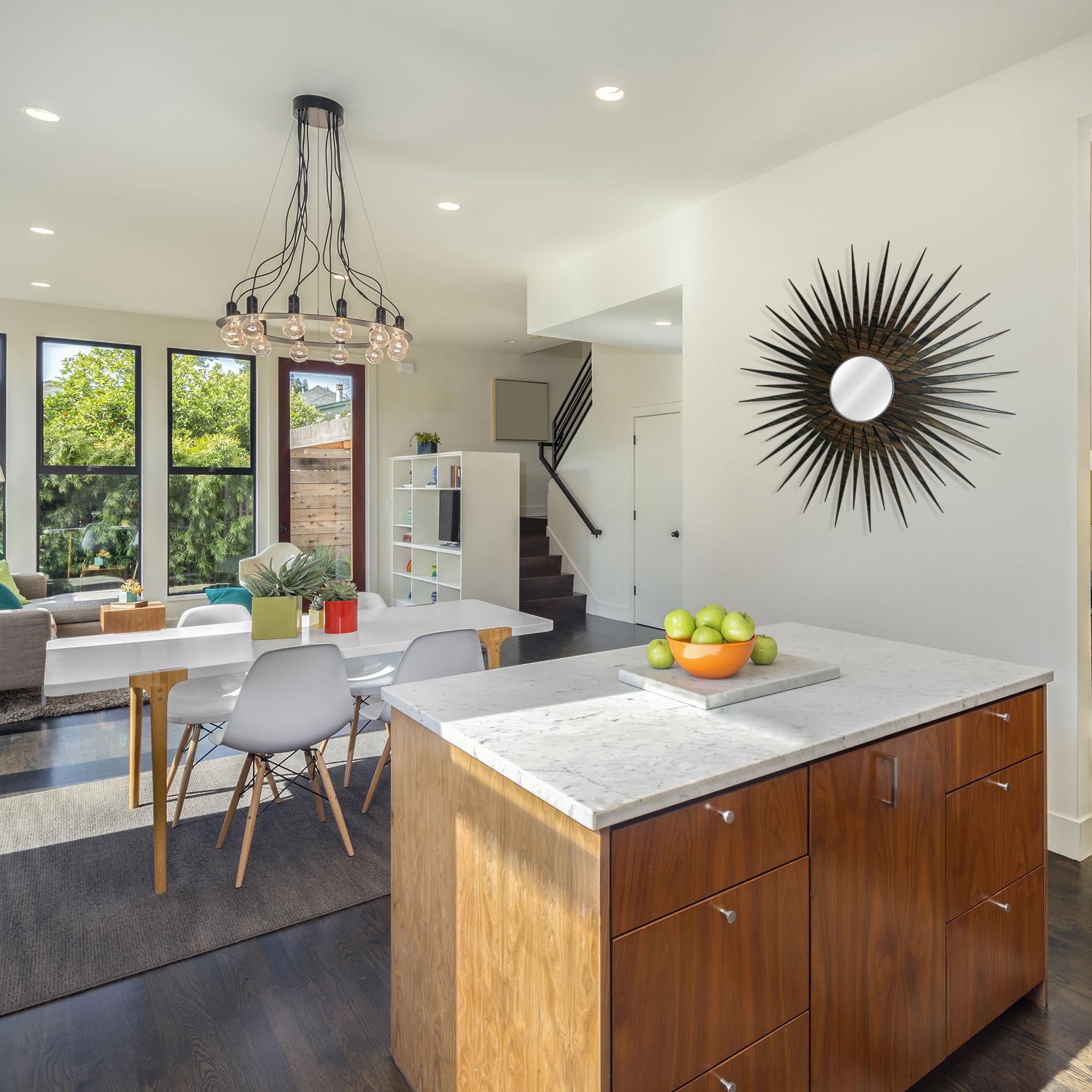 Midcentury Modern Decor 'MCM Starburst Mirror-Walnut' - Walnut Plywood Wooden Sunburst Mirror - Lifestyle View