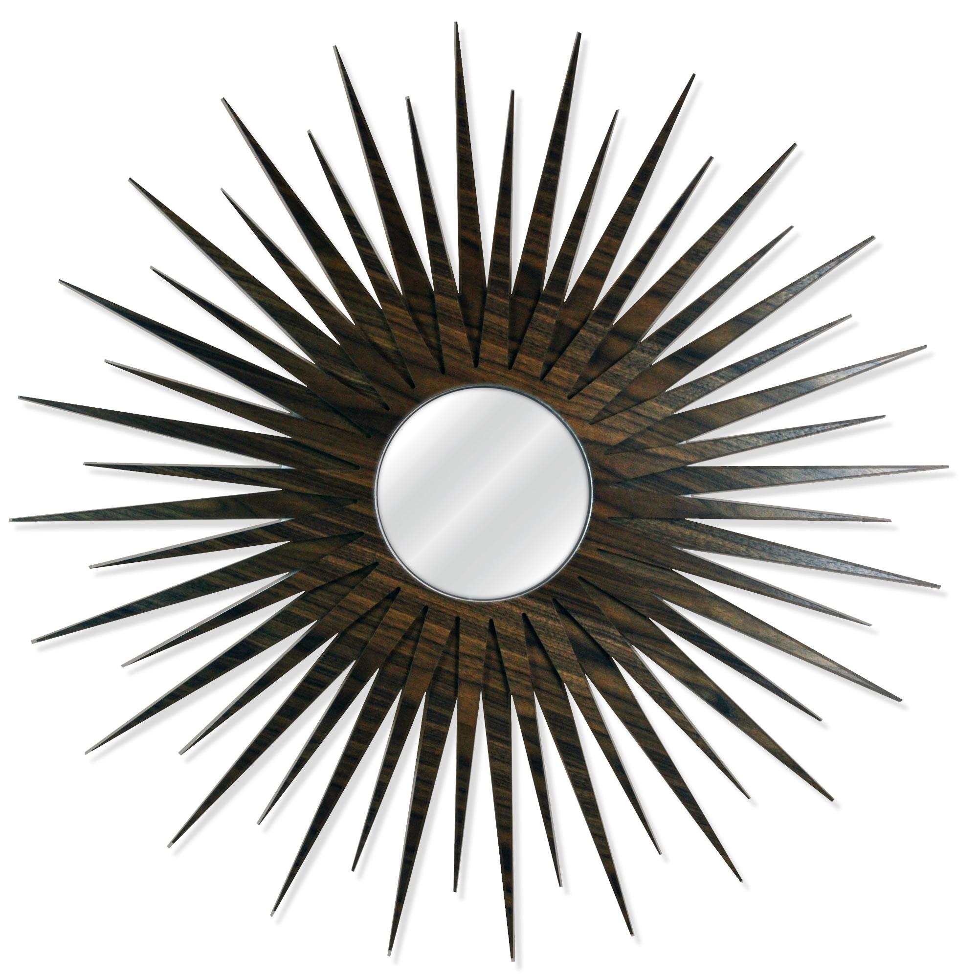 Midcentury Modern Decor 'MCM Starburst Mirror-Walnut' - Walnut Plywood Wooden Sunburst Mirror