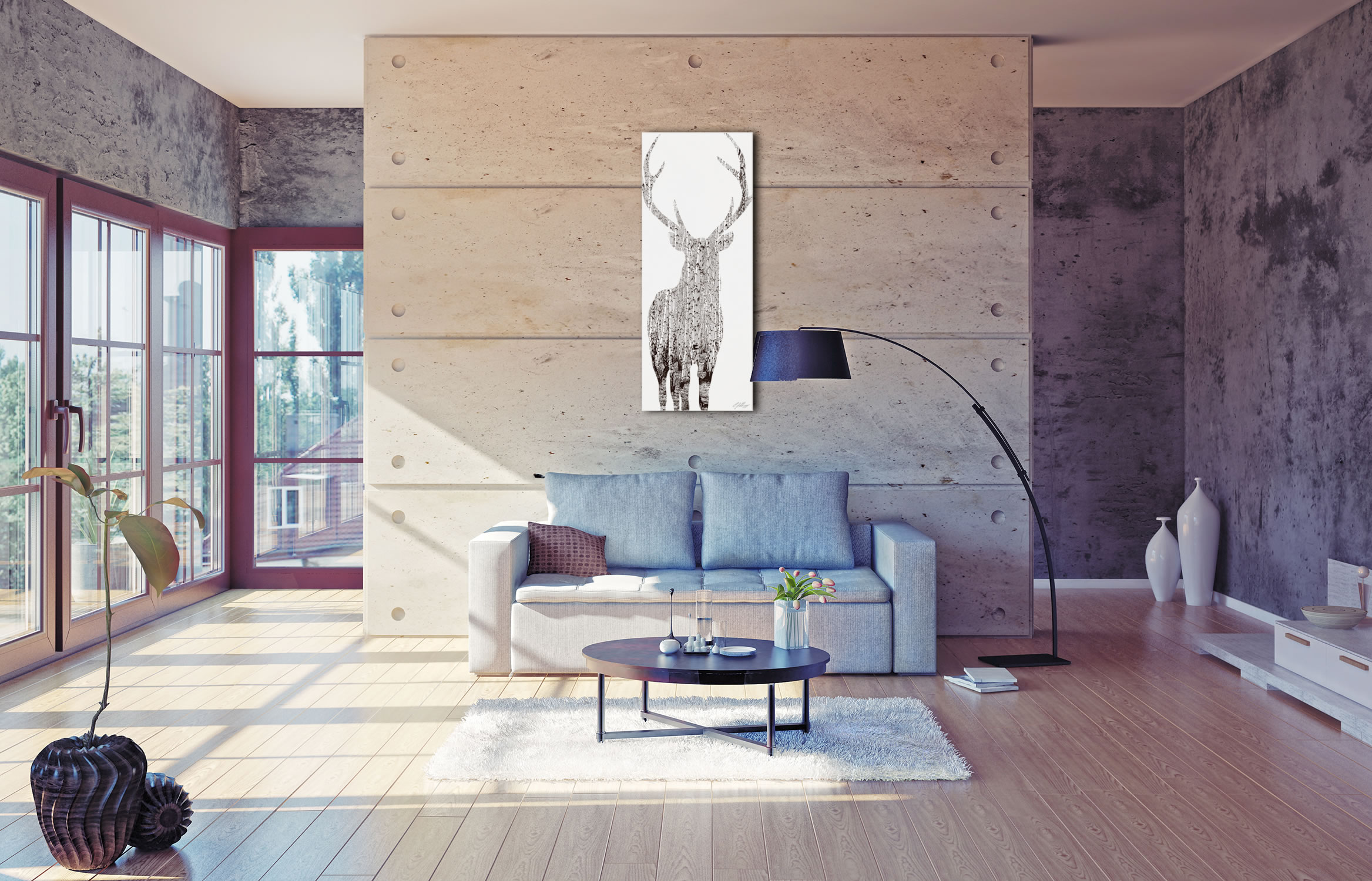 BIRCH DEER - 48x19 in. Metal Animal Print - Lifestyle Image