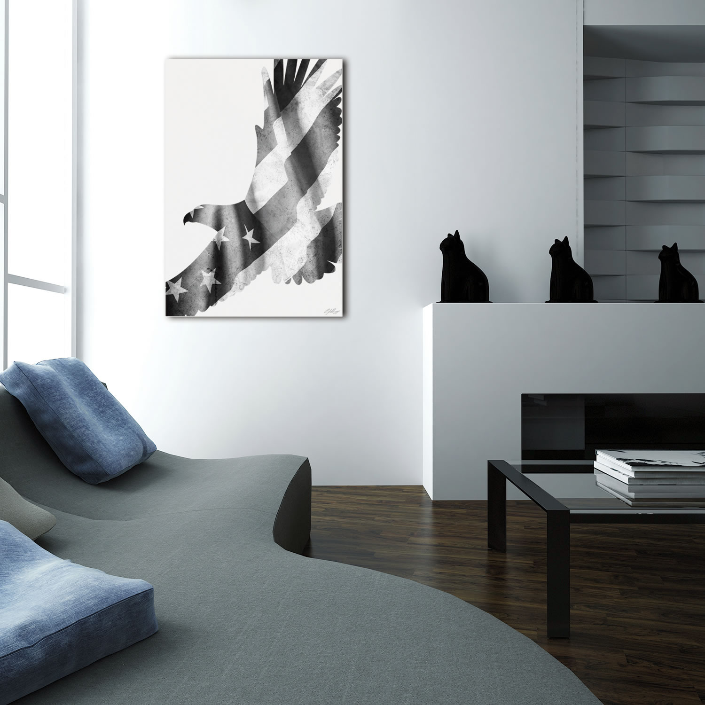 FREEDOM EAGLE BLACK & WHITE - 32x22 in. Metal US Flag Print - Lifestyle Image