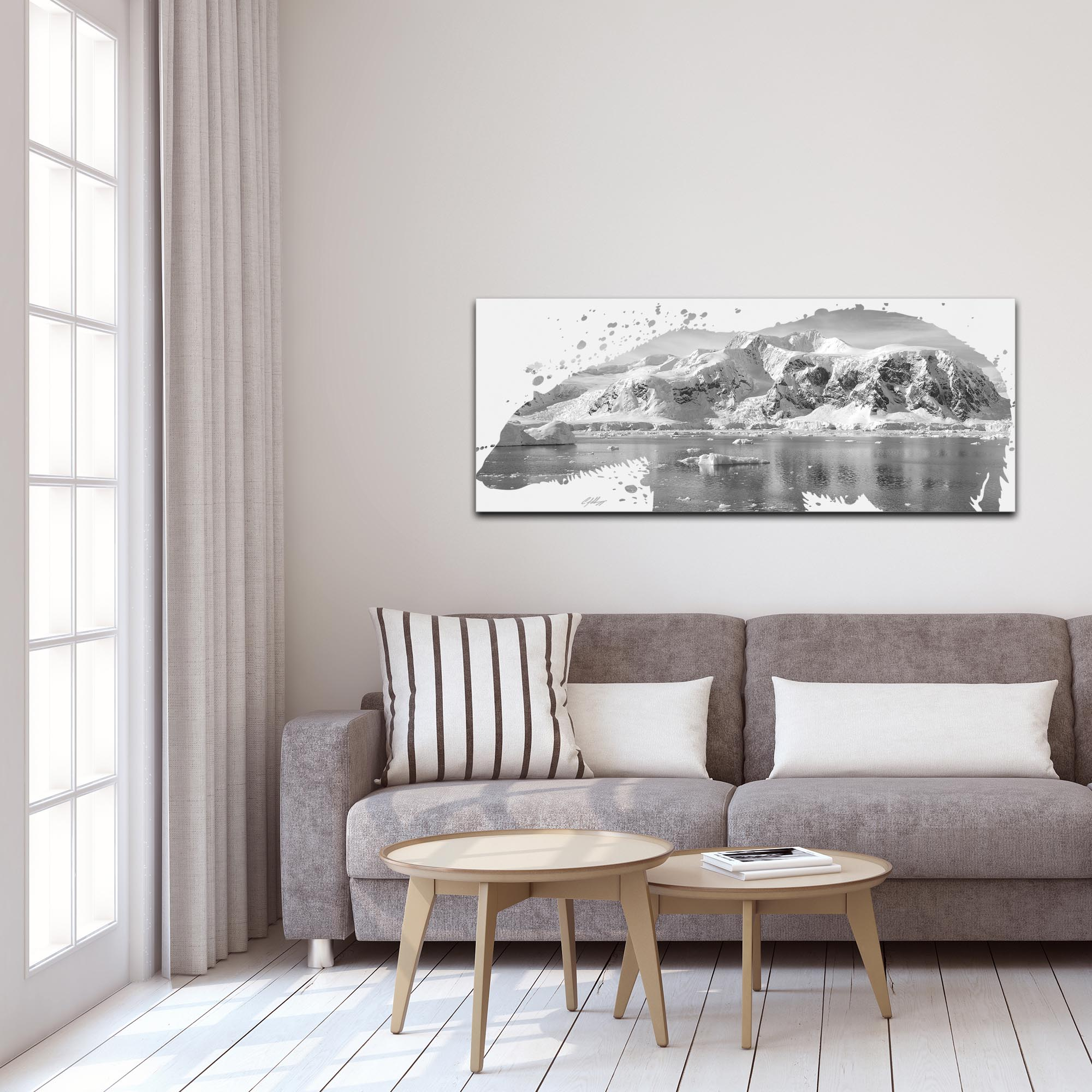 Polar Bear Arctic Gray by Adam Schwoeppe Animal Silhouette on White Metal - Lifestyle View