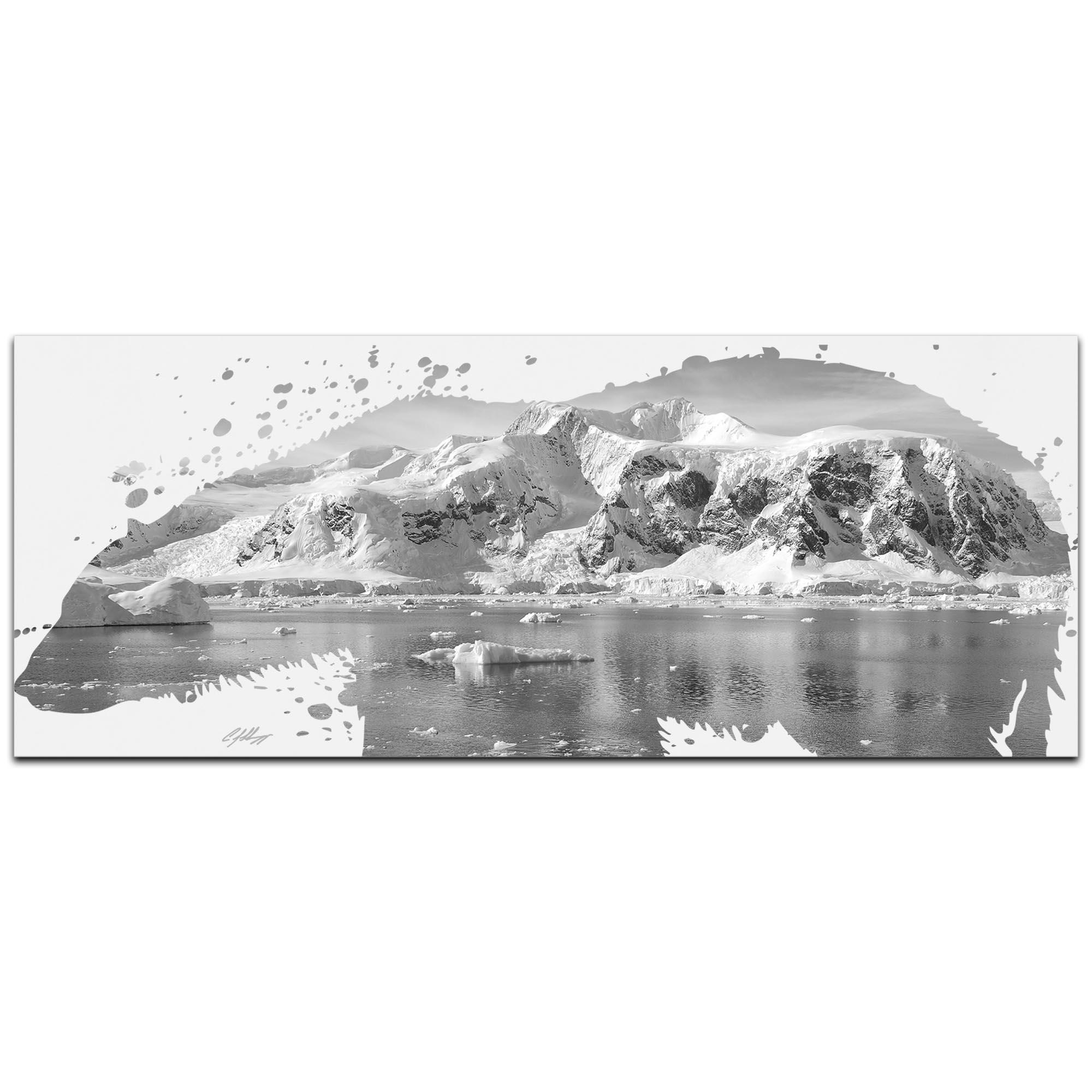 Polar Bear Arctic Gray by Adam Schwoeppe Animal Silhouette on White Metal