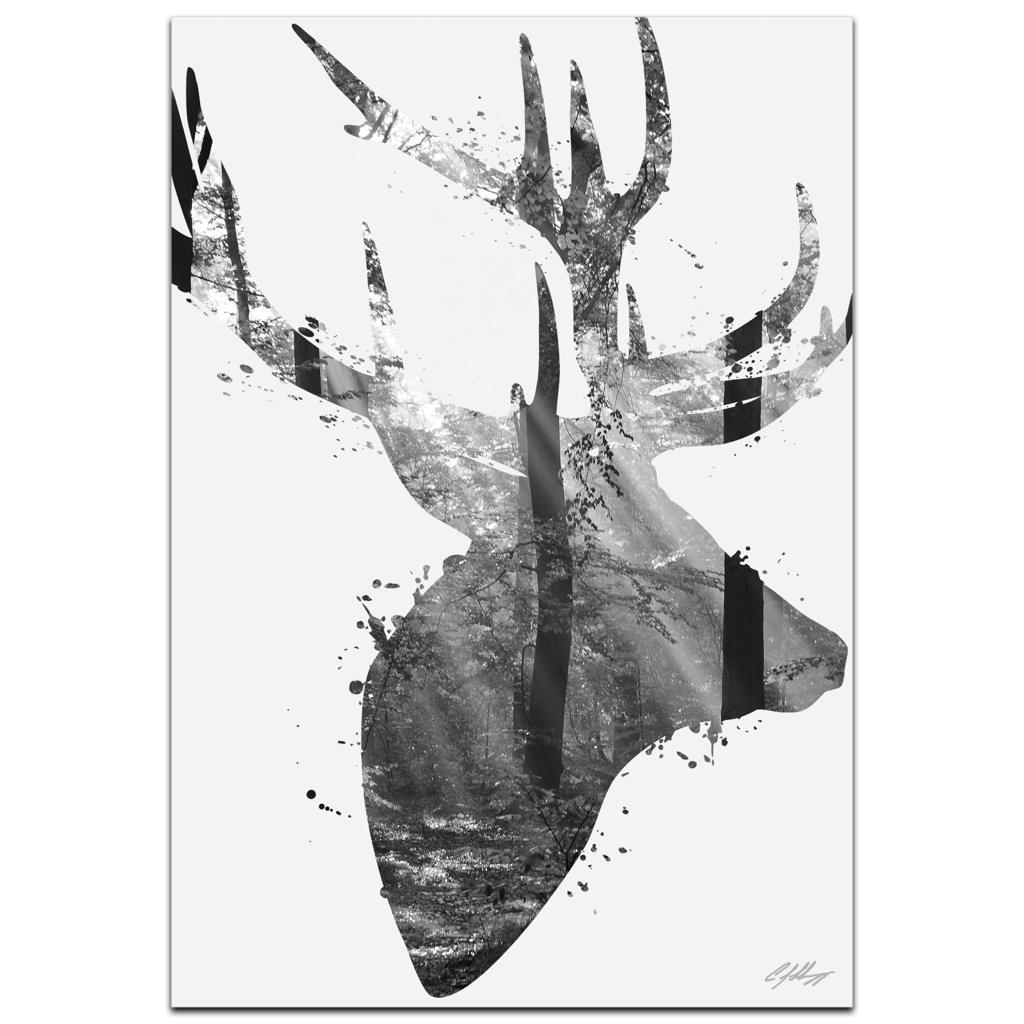 Forest Deer Gray by Adam Schwoeppe Animal Silhouette on White Metal