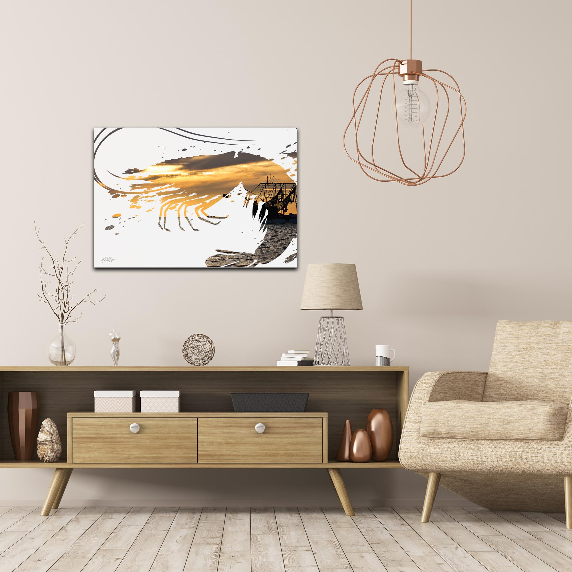 Shrimp Boat by Adam Schwoeppe Animal Silhouette on White Metal - Lifestyle View
