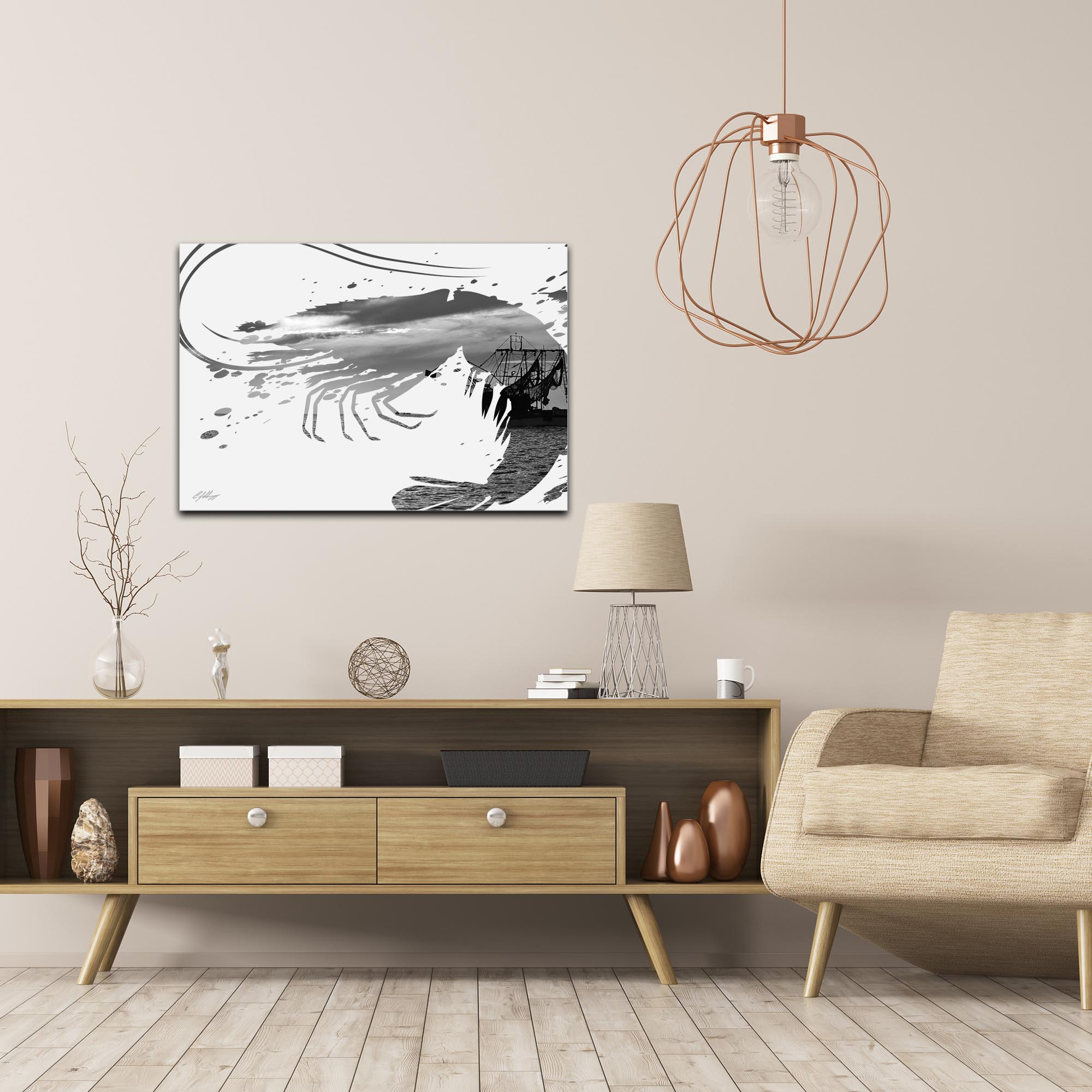Shrimp Boat Gray by Adam Schwoeppe Animal Silhouette on White Metal - Lifestyle View