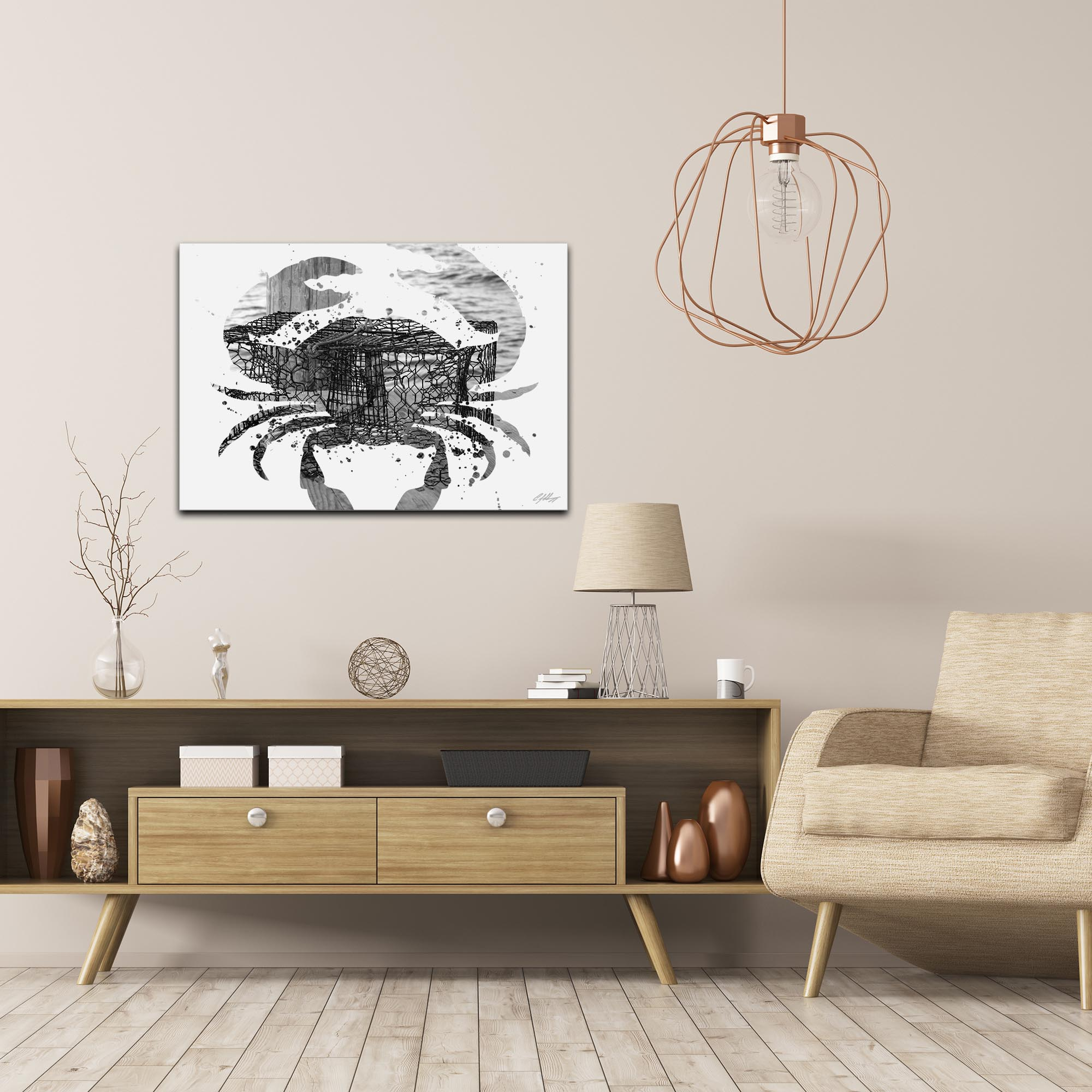 Crab Pot Gray by Adam Schwoeppe Animal Silhouette on White Metal - Lifestyle View