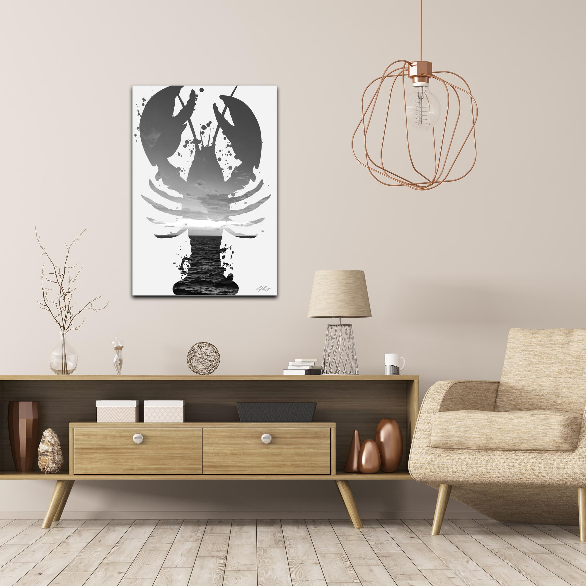 Lobster Sunrise Gray by Adam Schwoeppe Animal Silhouette on White Metal - Lifestyle View