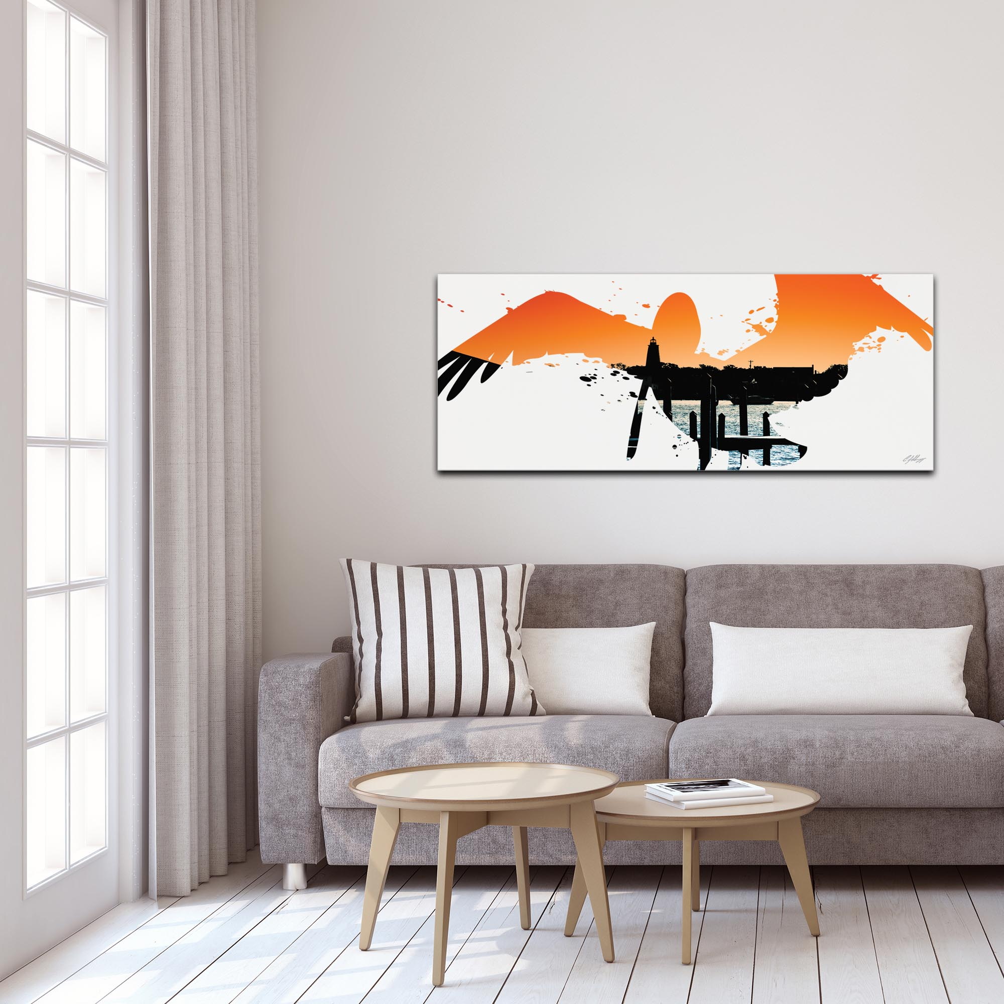 Pelican Seascape by Adam Schwoeppe Animal Silhouette on White Metal - Lifestyle View