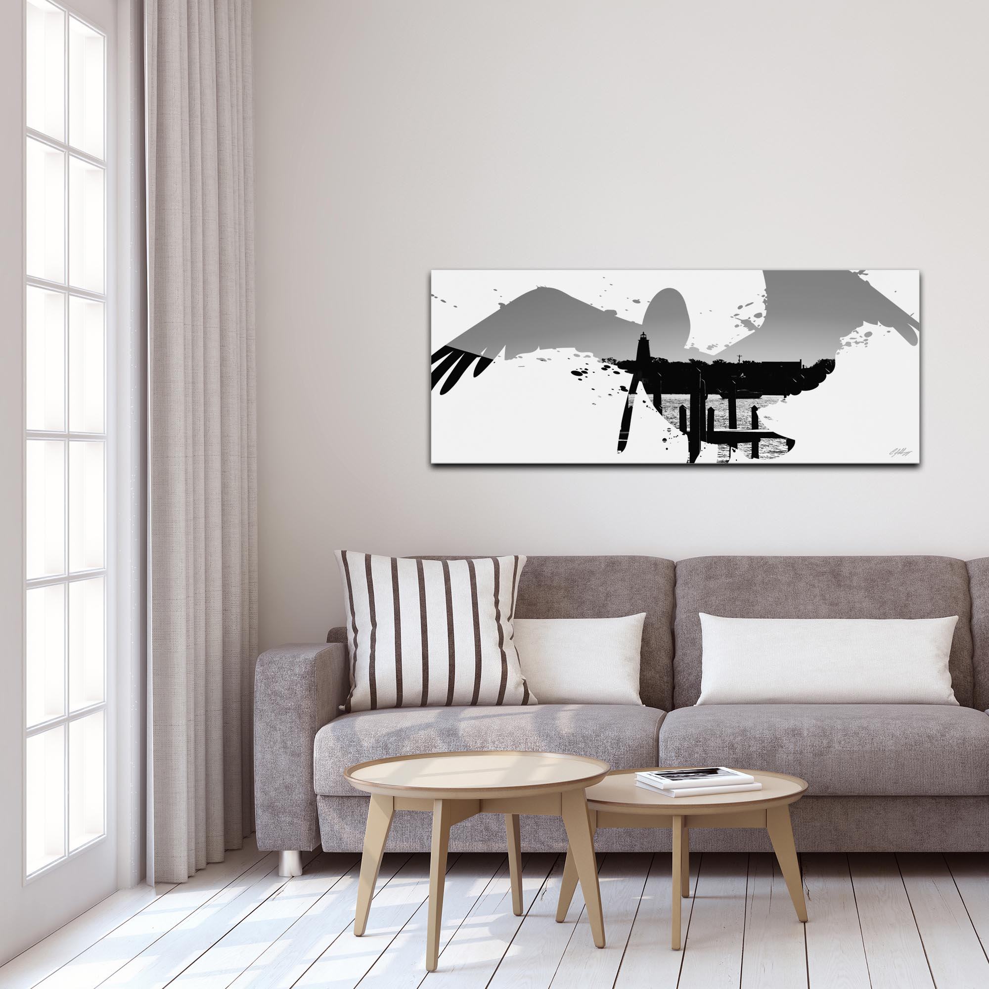 Pelican Seascape Gray by Adam Schwoeppe Animal Silhouette on White Metal - Lifestyle View
