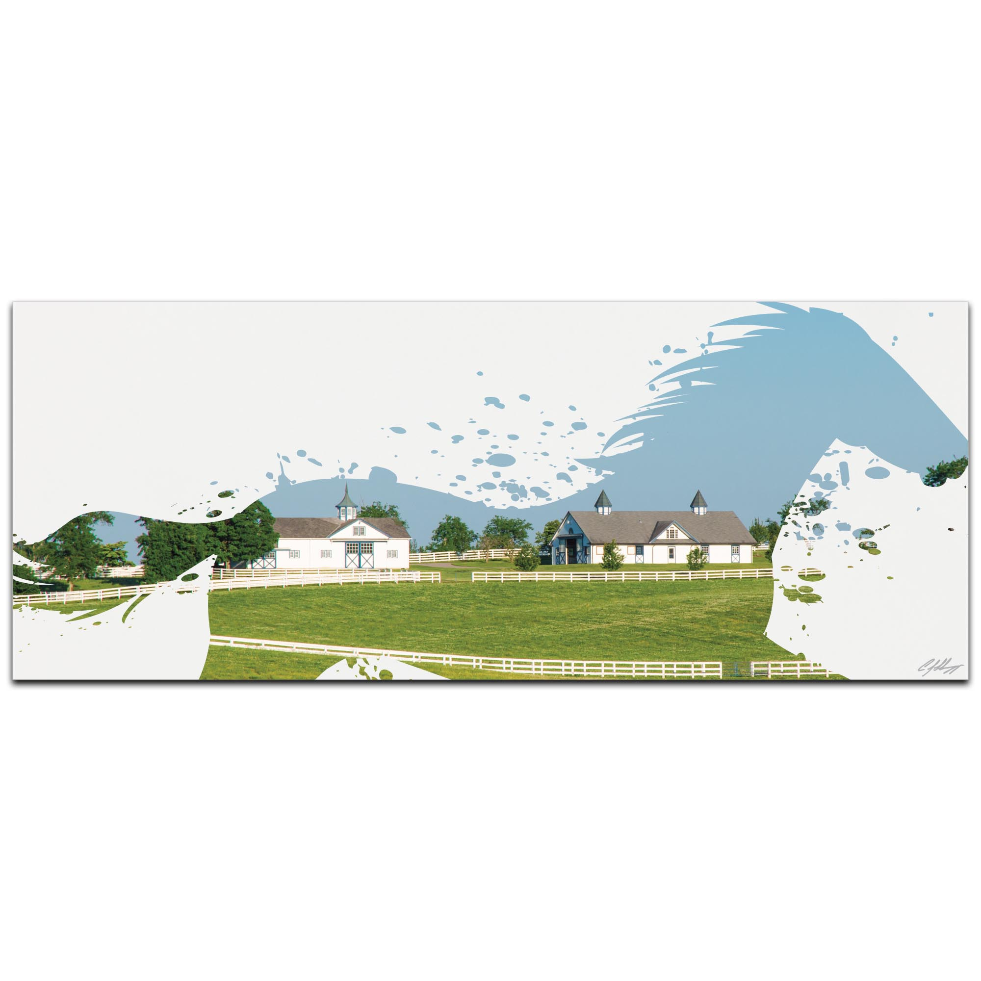 Horse Ranch by Adam Schwoeppe Animal Silhouette on White Metal