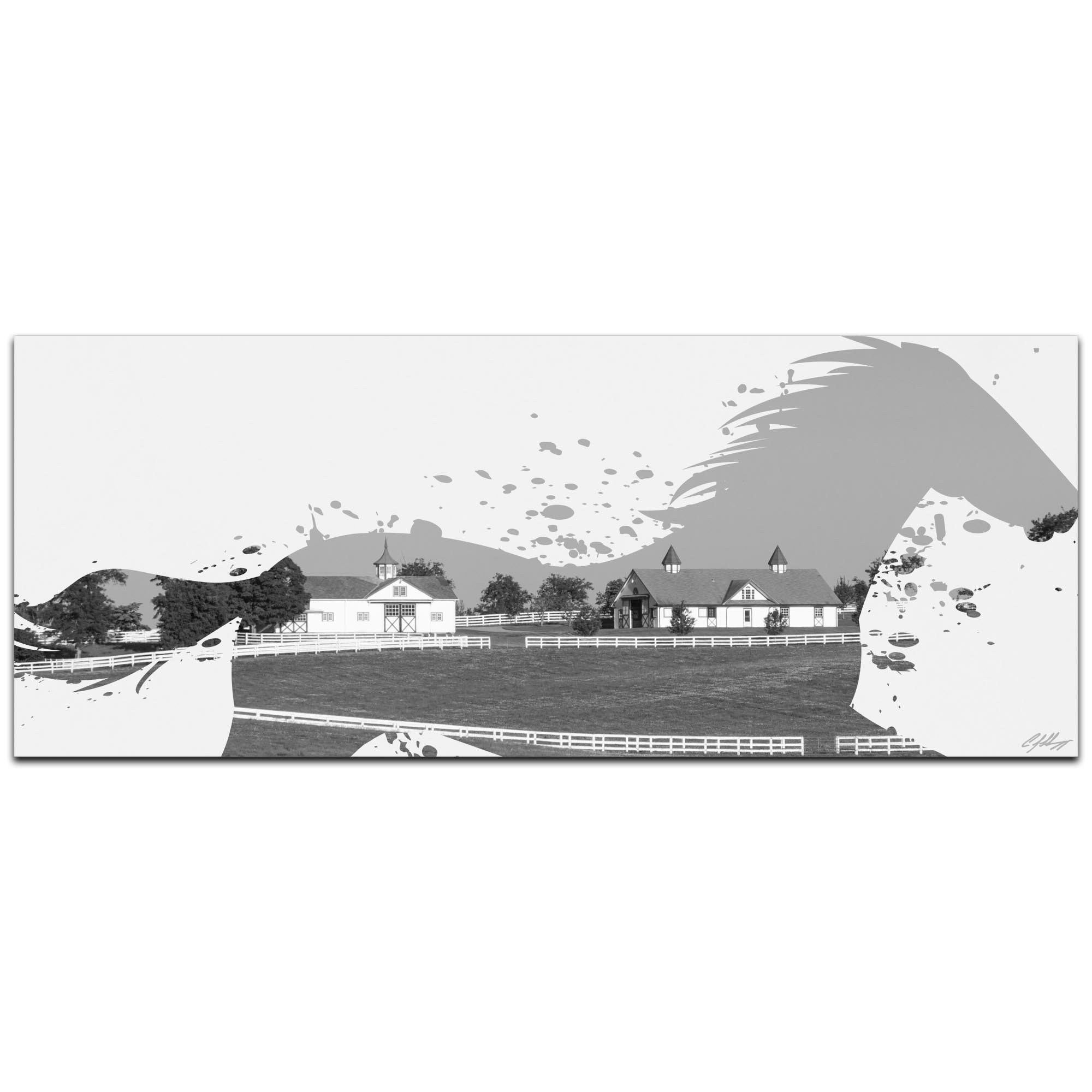 Horse Ranch Gray by Adam Schwoeppe Animal Silhouette on White Metal