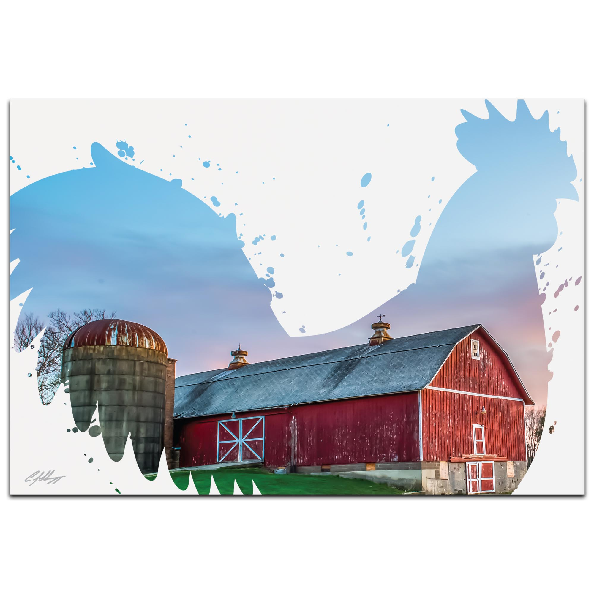 Rooster Farm by Adam Schwoeppe Animal Silhouette on White Metal