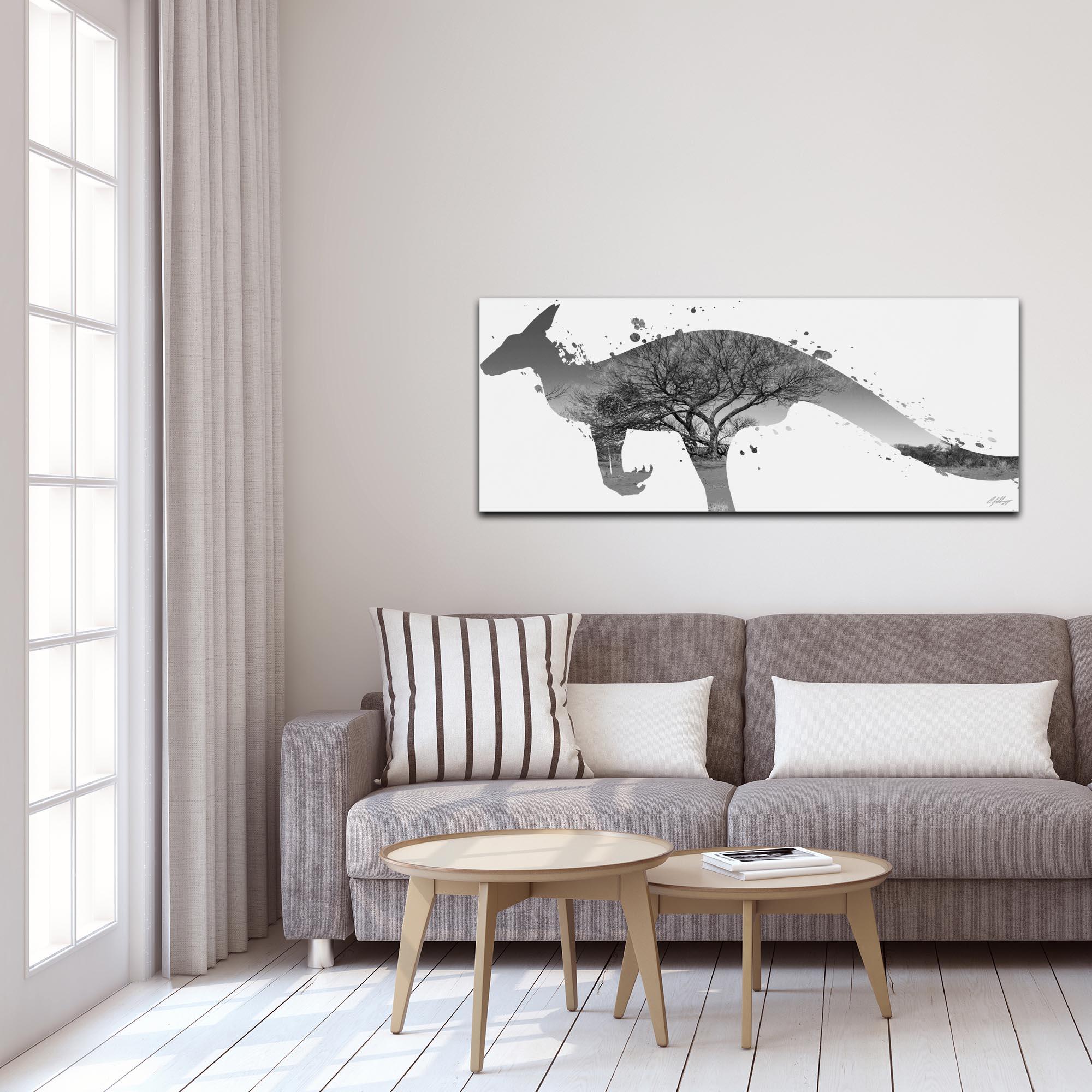 Kangaroo Outback Gray by Adam Schwoeppe Animal Silhouette on White Metal - Lifestyle View