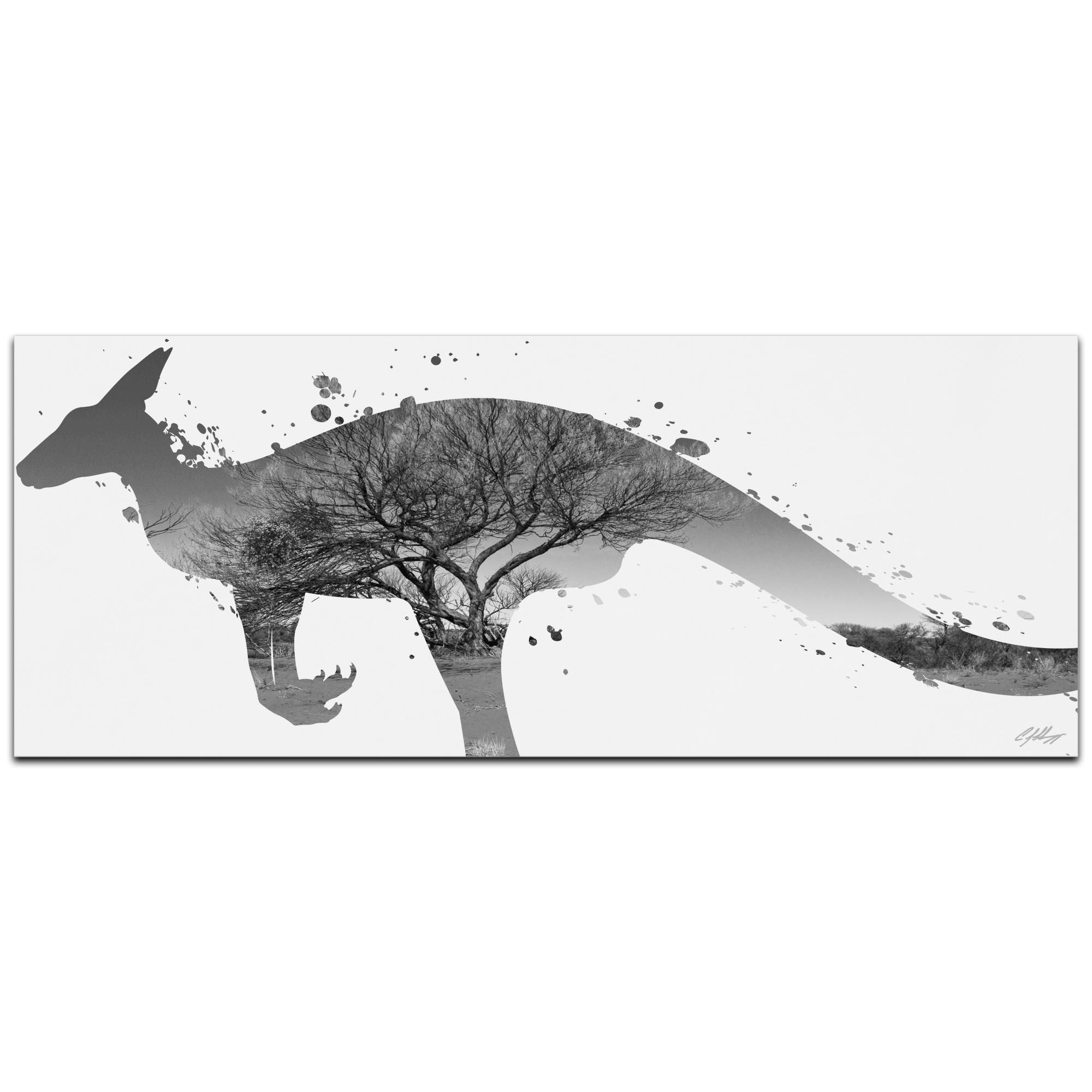 Kangaroo Outback Gray by Adam Schwoeppe Animal Silhouette on White Metal