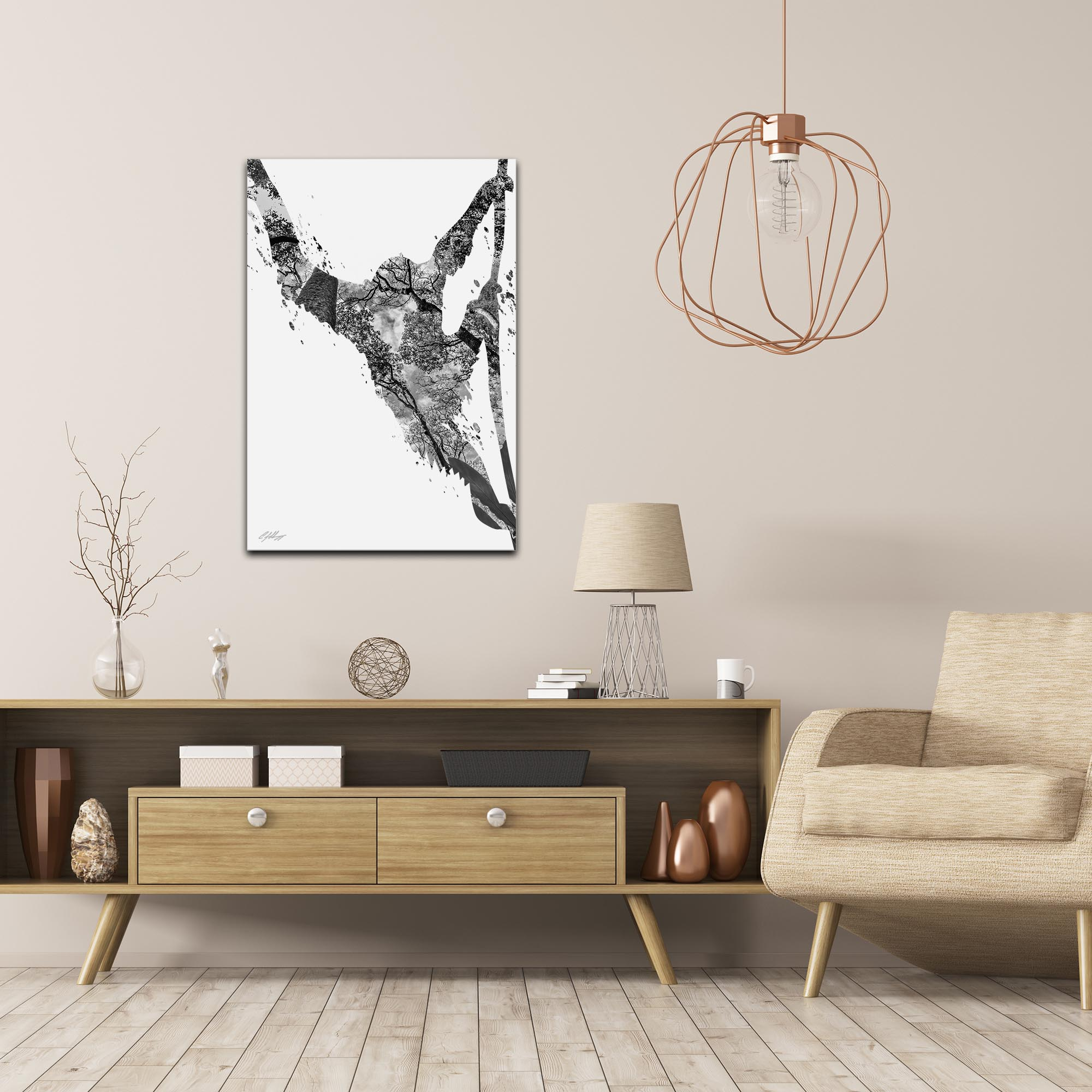 Monkey Jungle Gray by Adam Schwoeppe Animal Silhouette on White Metal - Lifestyle View