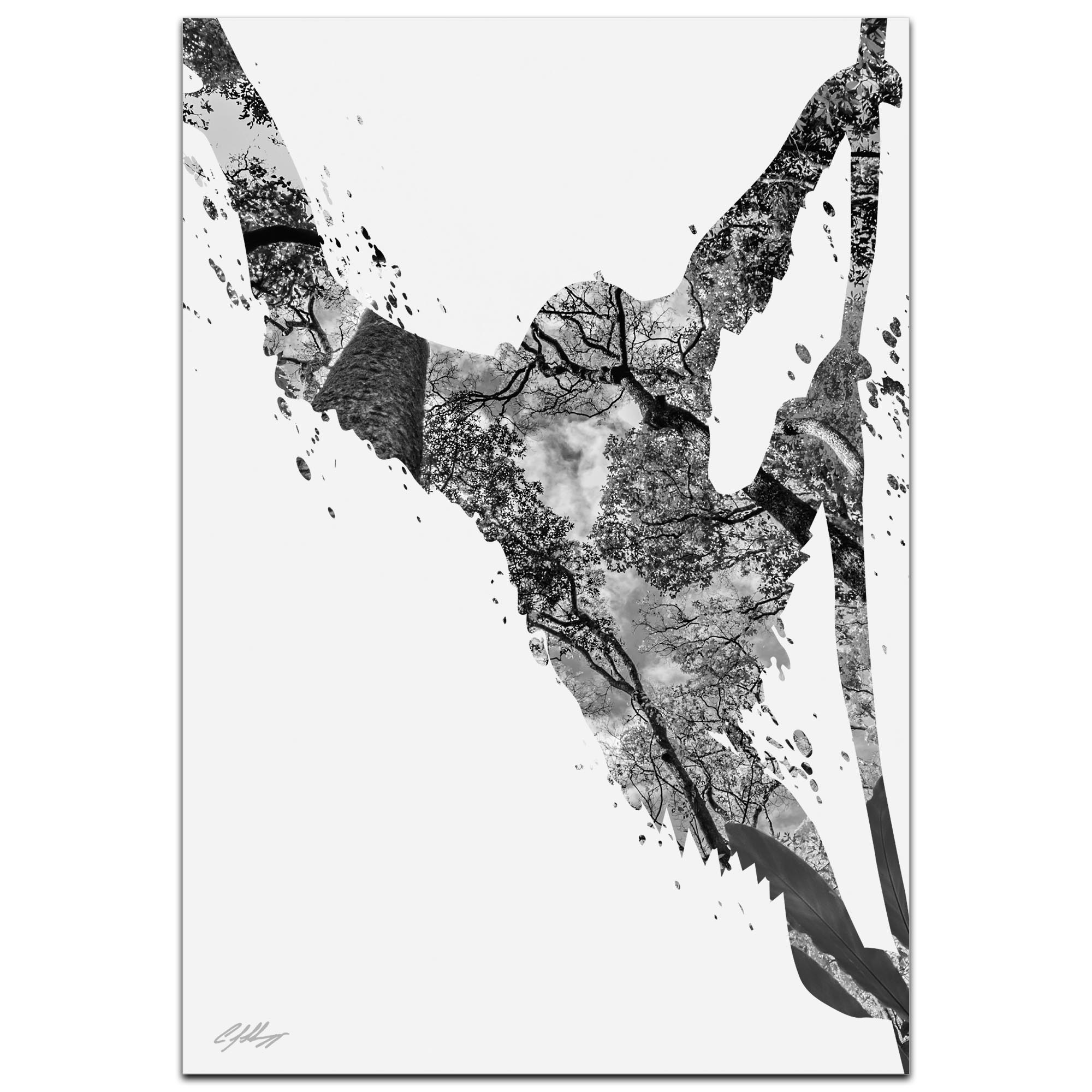 Monkey Jungle Gray by Adam Schwoeppe Animal Silhouette on White Metal