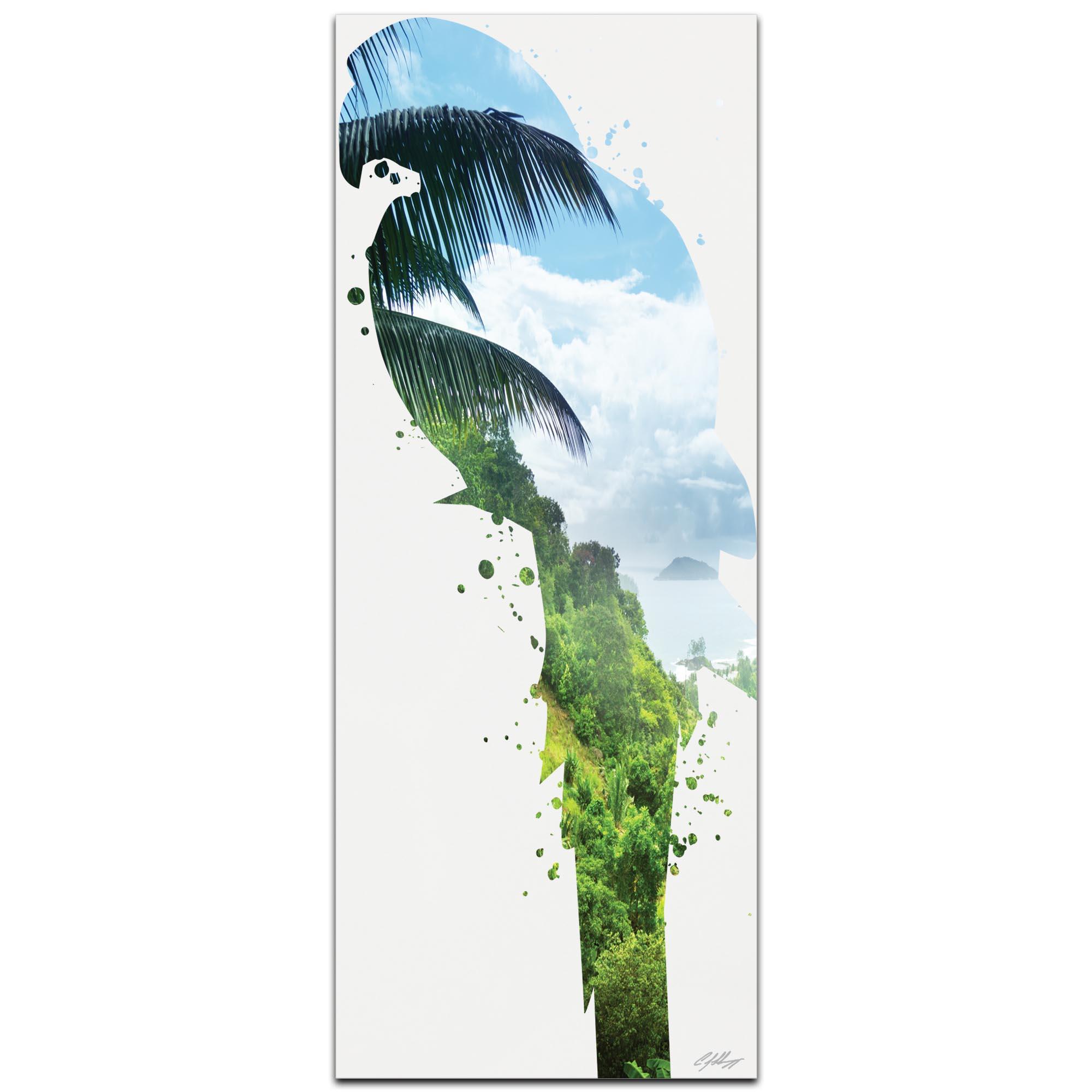 Parrot Tropics by Adam Schwoeppe Animal Silhouette on White Metal