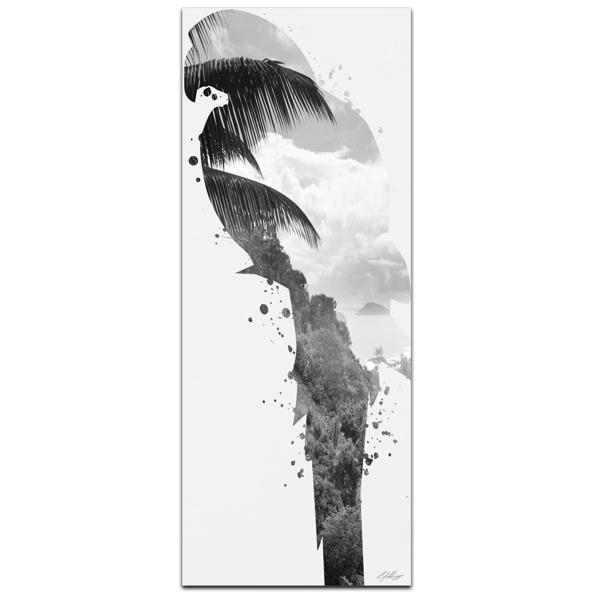Parrot Tropics Gray by Adam Schwoeppe Animal Silhouette on White Metal