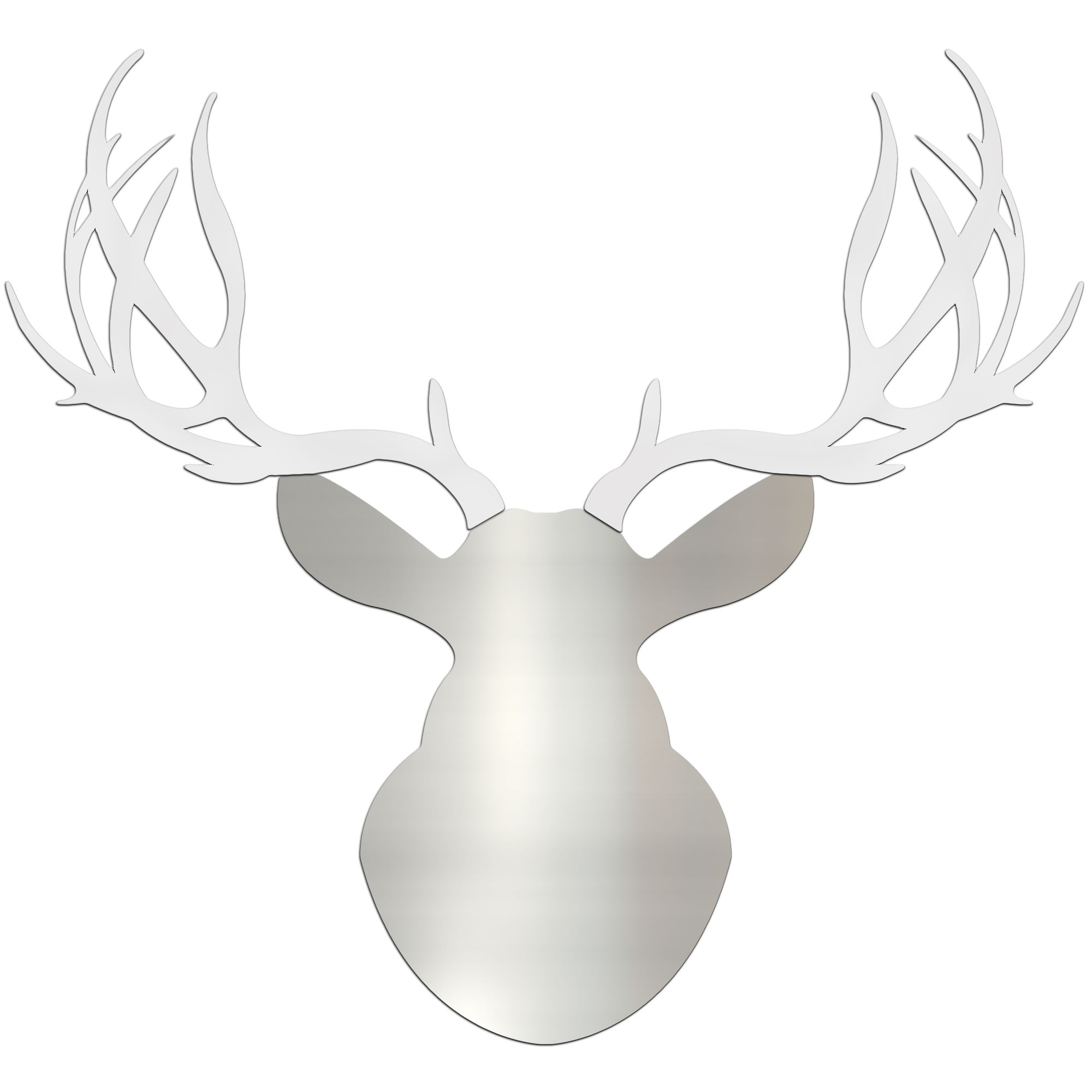 WINTER BUCK - 36x36 in. Silver & White Deer Cut-Out