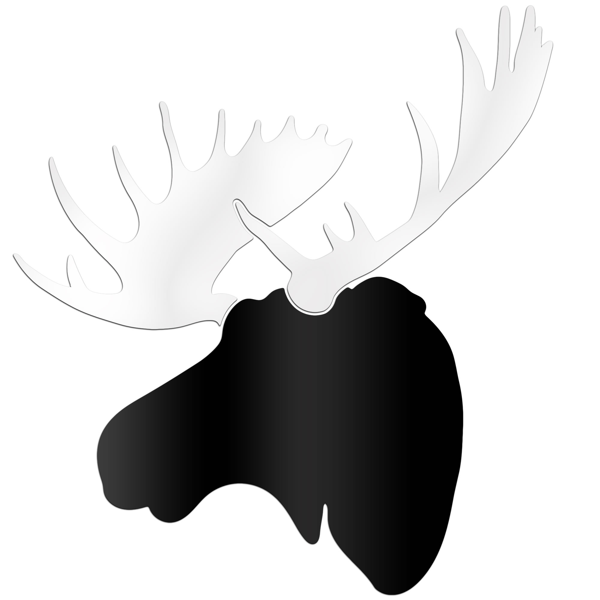 Metal art studio modern moose 36x36 in black white decor as0651