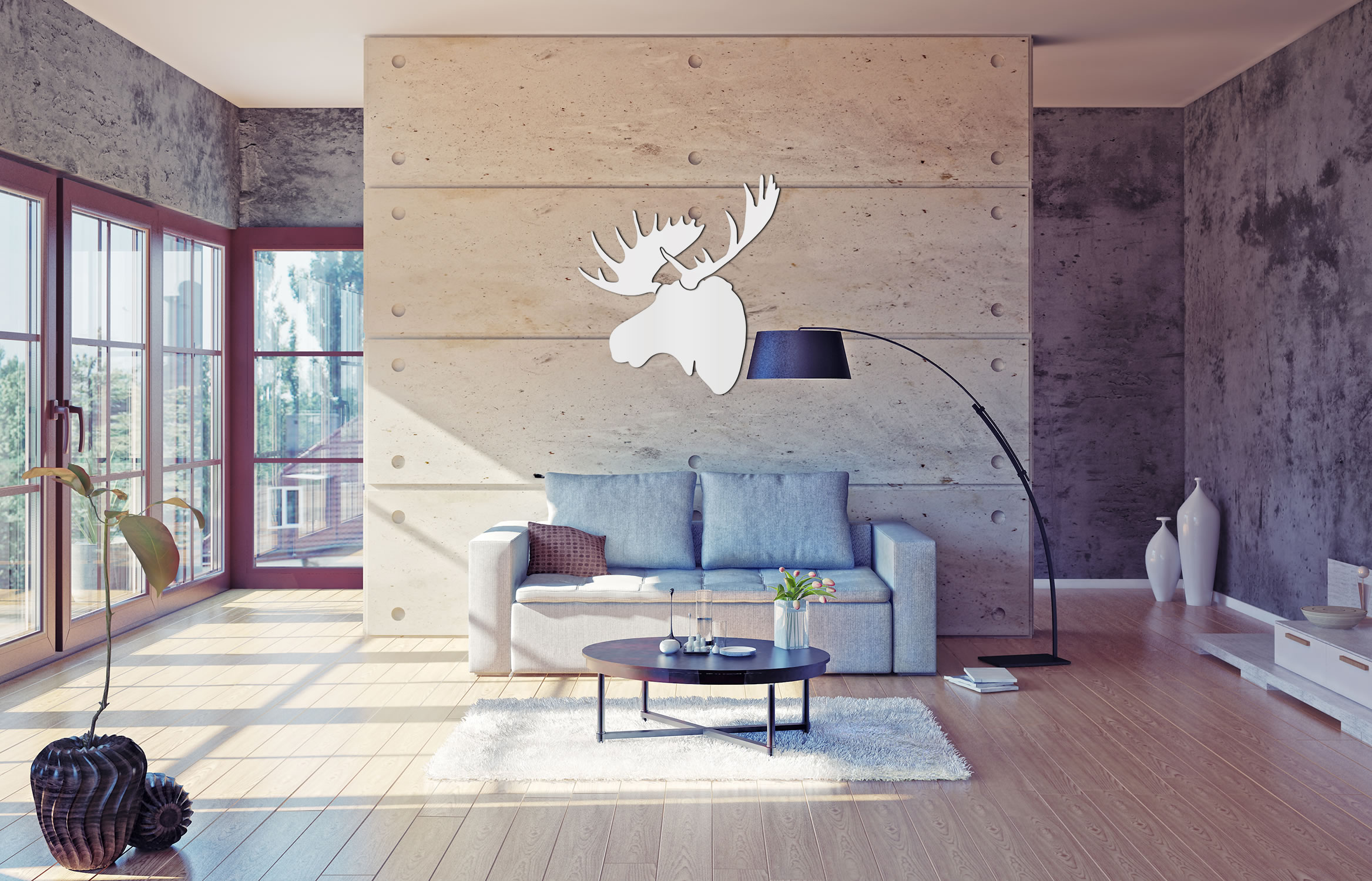 SNOW MOOSE - 36x36 in. Pure White D?cor - Lifestyle Image