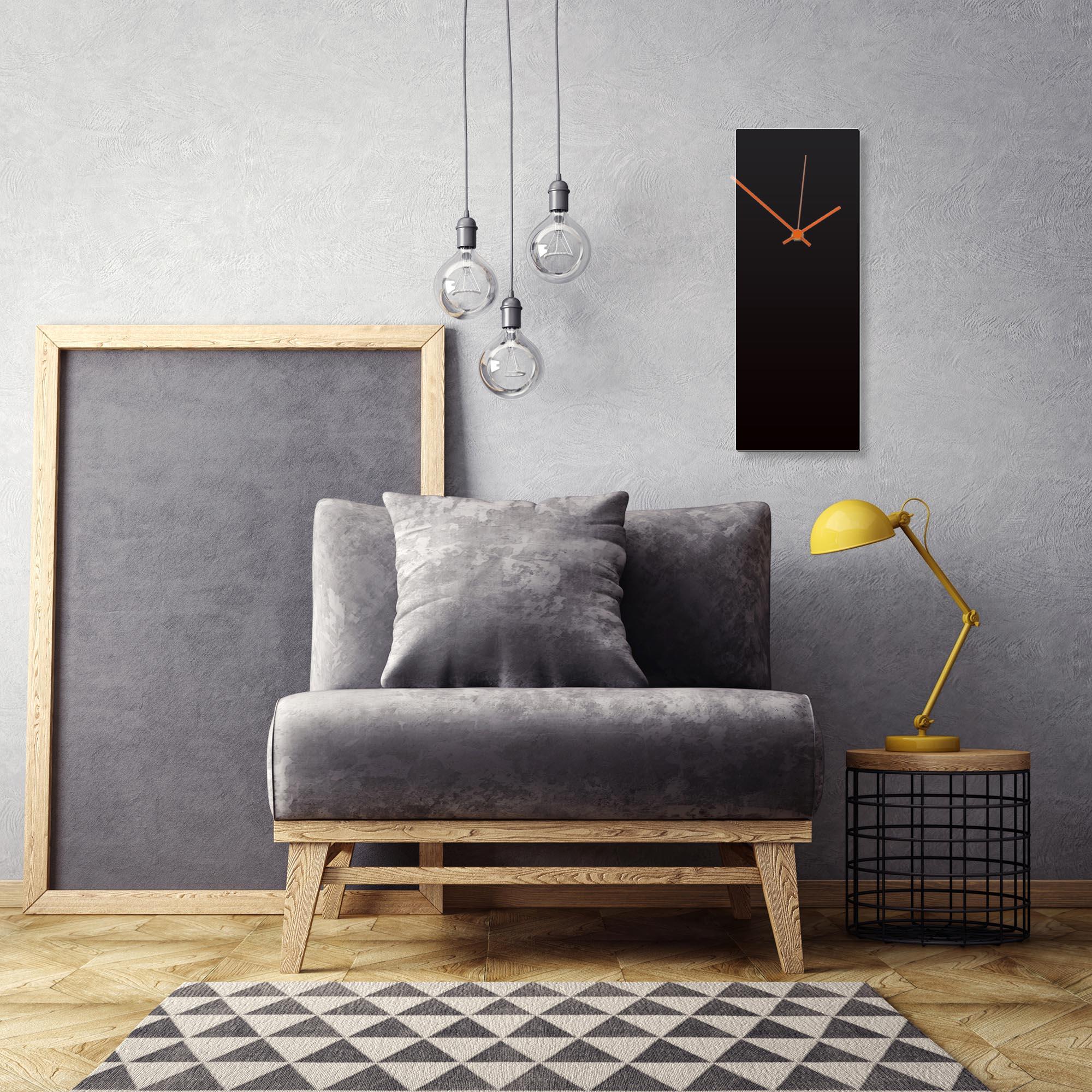 Blackout Orange Clock Large by Adam Schwoeppe Contemporary Clock on Aluminum Polymetal - Alternate View 1