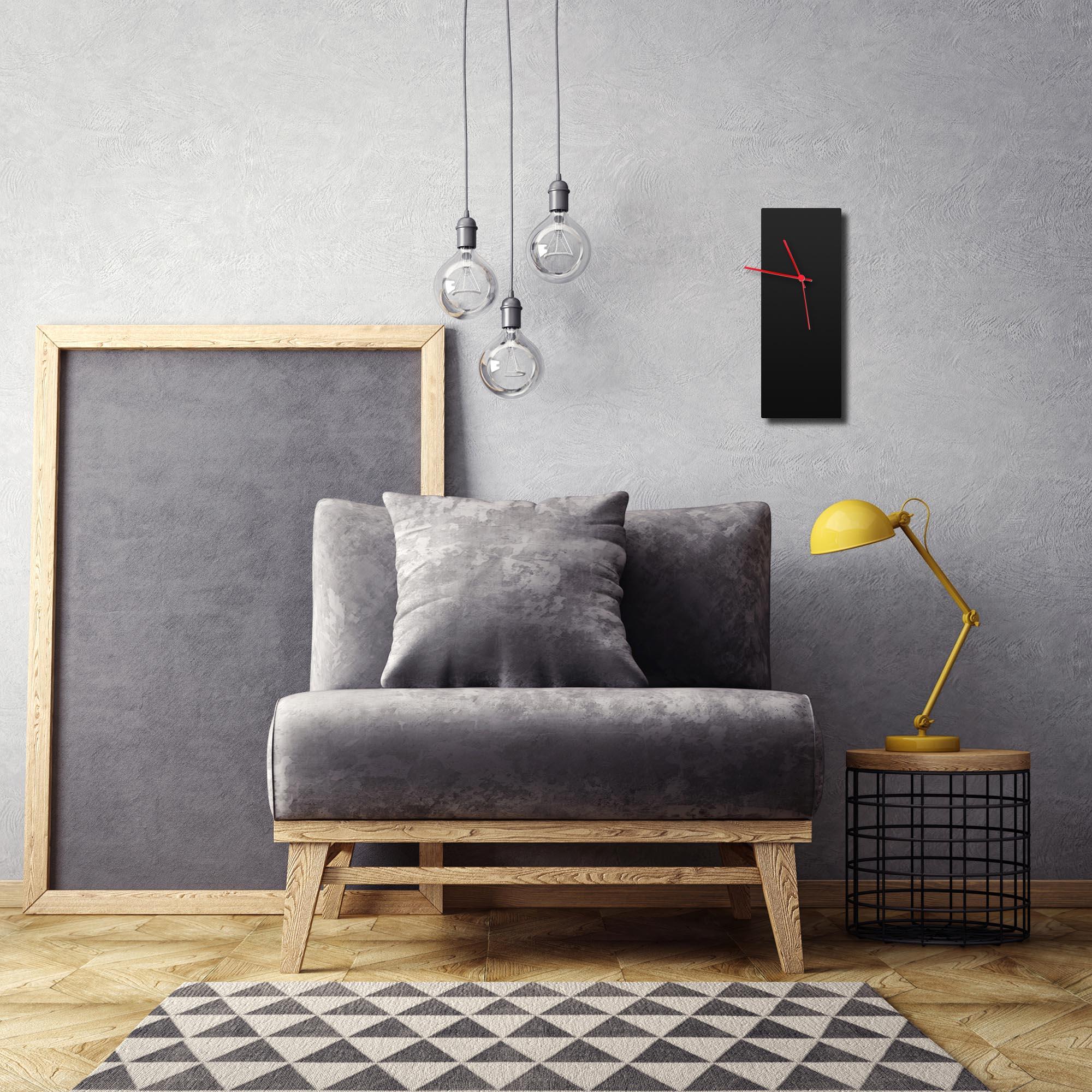 Blackout Red Clock by Adam Schwoeppe Contemporary Clock on Aluminum Polymetal - Alternate View 1
