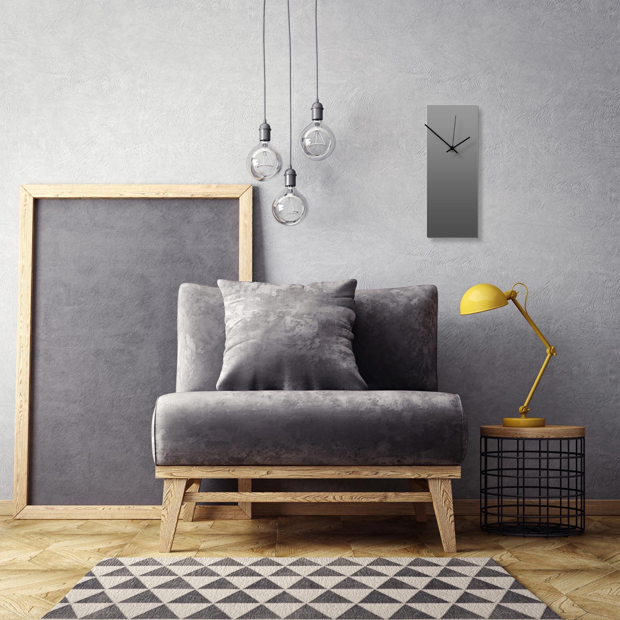Grayout Black Clock by Adam Schwoeppe Contemporary Clock on Aluminum Polymetal - Alternate View 1