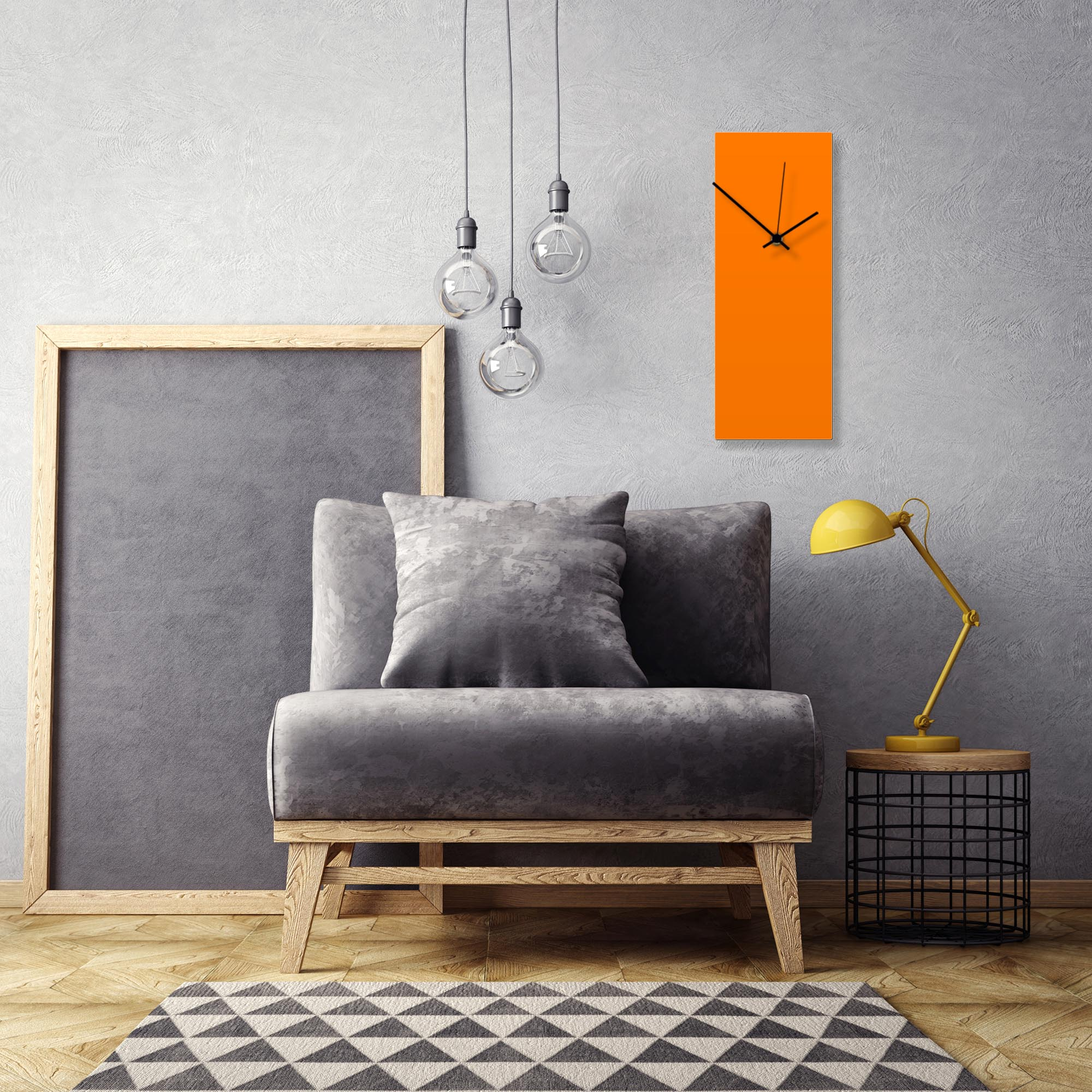 Orangeout Black Clock Large by Adam Schwoeppe Contemporary Clock on Aluminum Polymetal - Alternate View 1