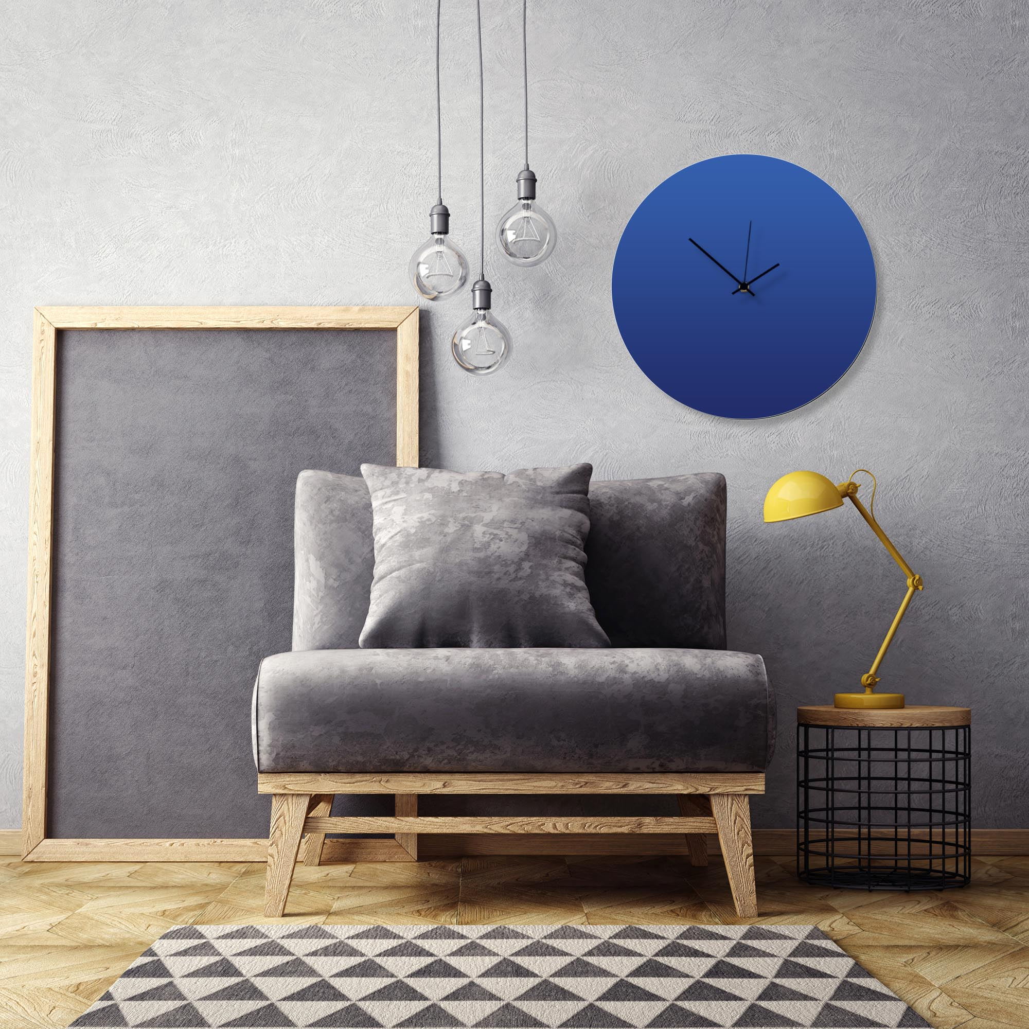 Blueout Black Circle Clock Large by Adam Schwoeppe Contemporary Clock on Aluminum Polymetal - Alternate View 1