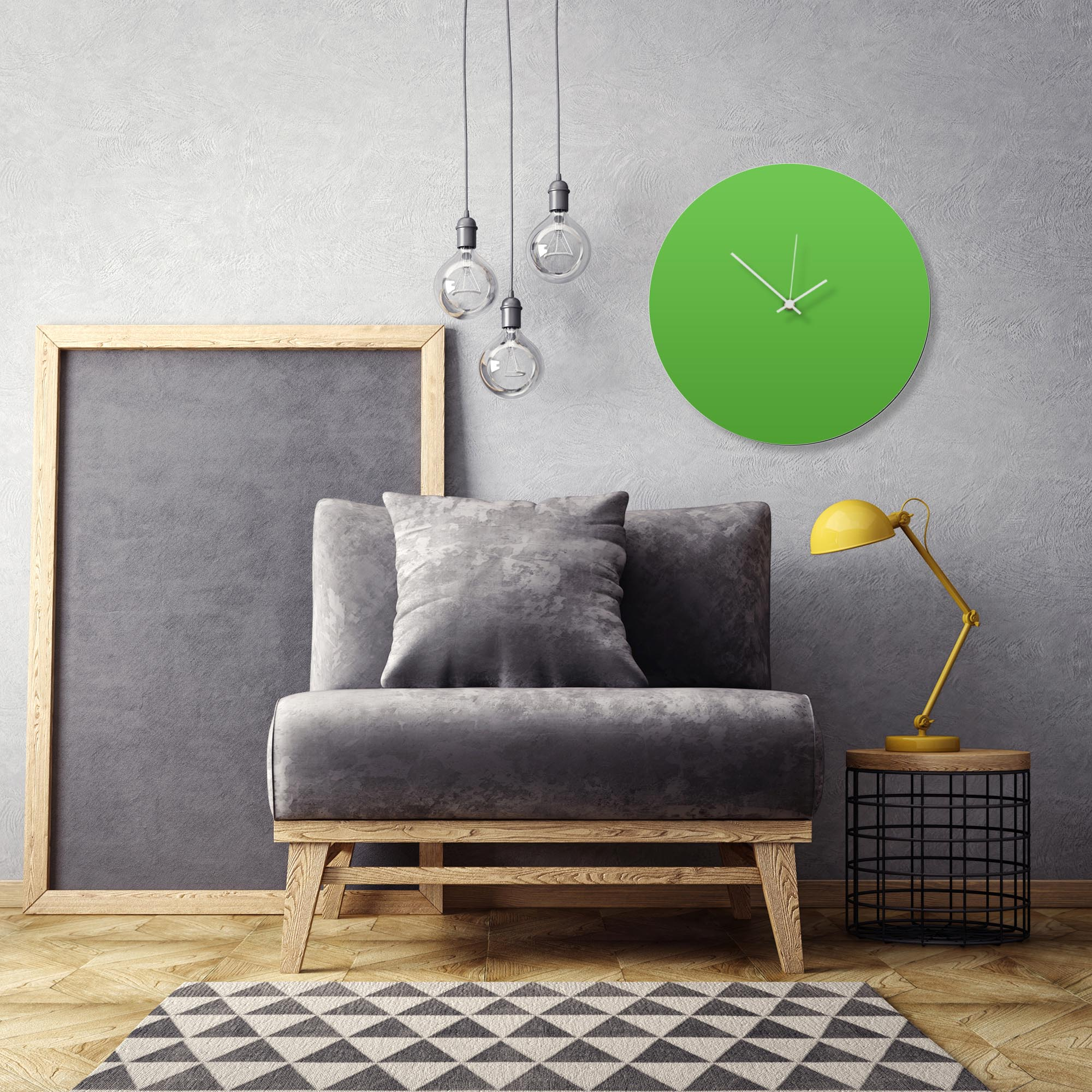 Greenout White Circle Clock Large by Adam Schwoeppe Contemporary Clock on Aluminum Polymetal - Alternate View 1