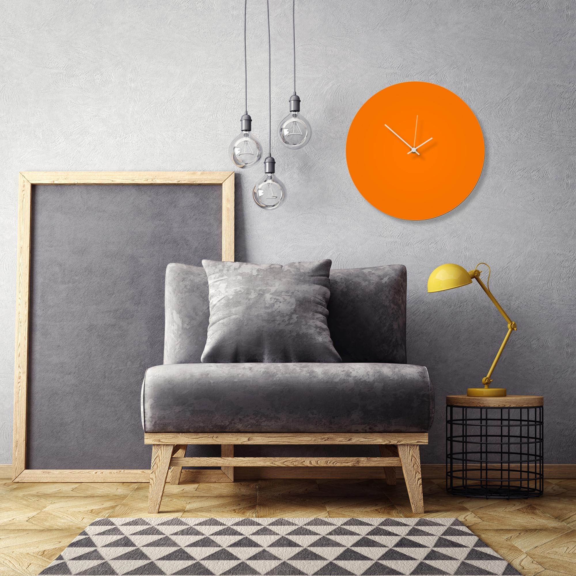 Orangeout White Circle Clock Large by Adam Schwoeppe Contemporary Clock on Aluminum Polymetal - Alternate View 1