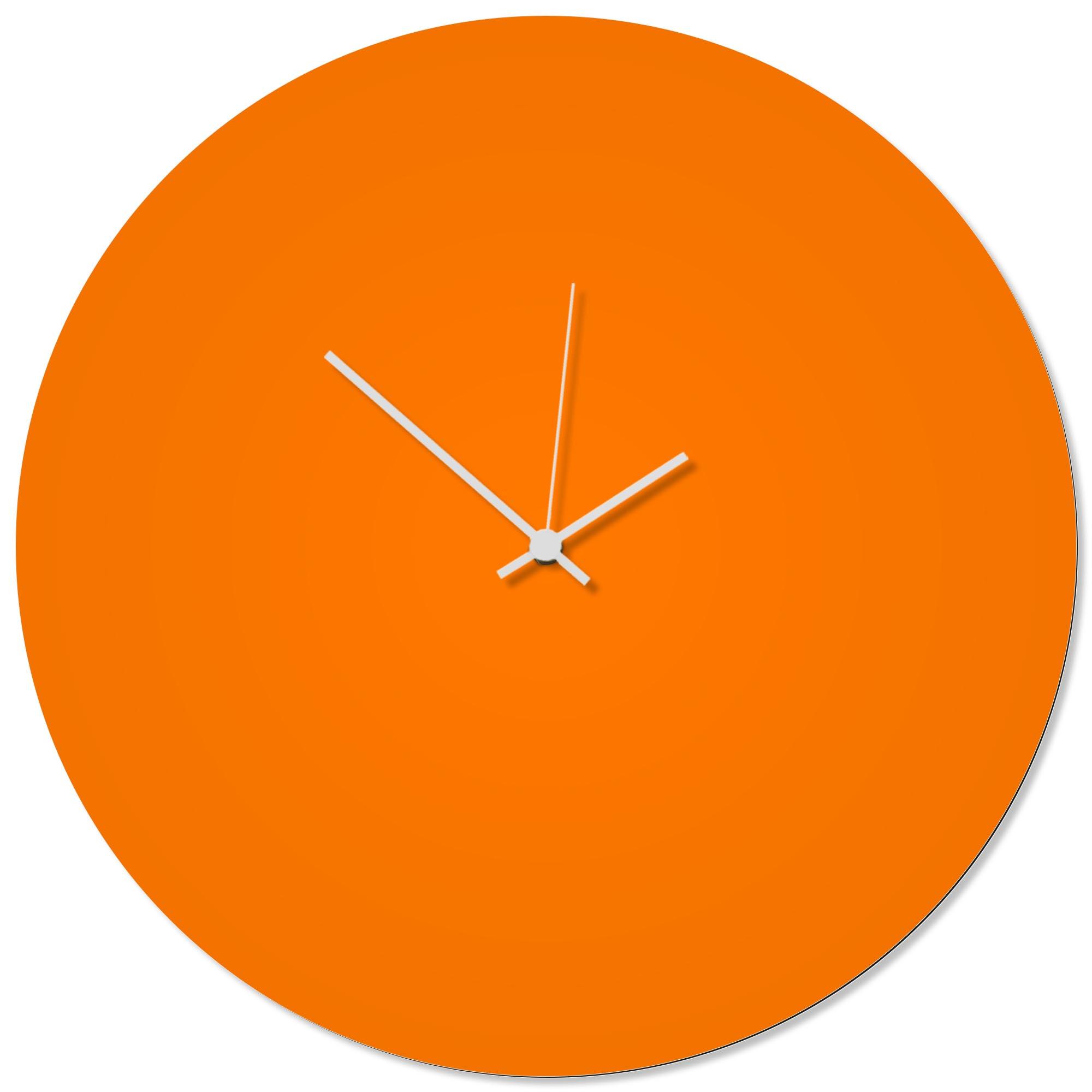 Orangeout White Circle Clock Large 23x23in. Aluminum Polymetal