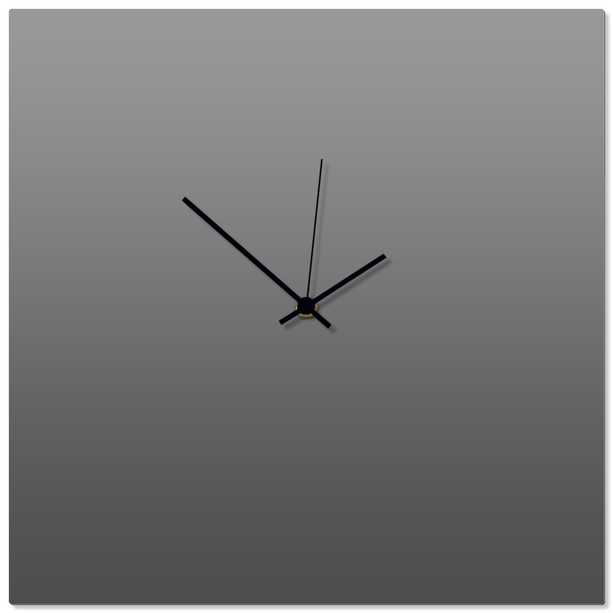 Grayout Black Square Clock 16x16in. Aluminum Polymetal