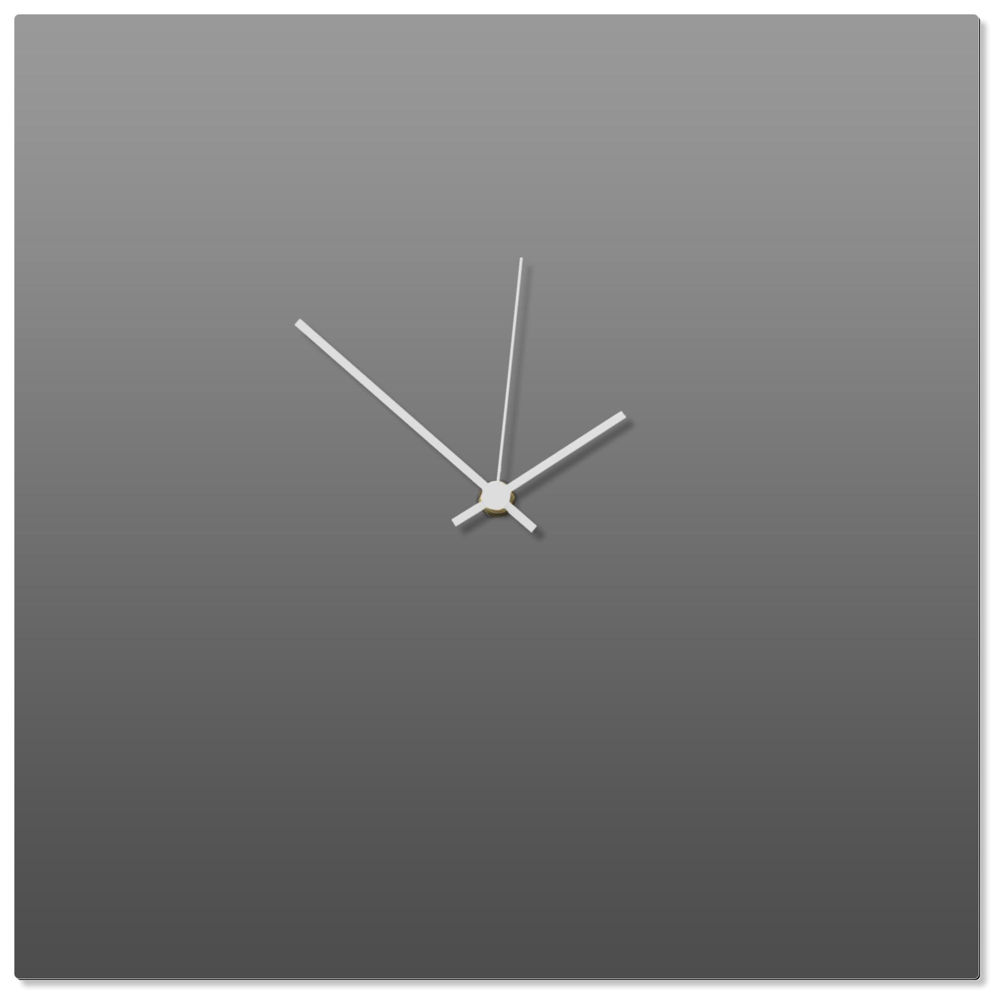 Grayout White Square Clock 16x16in. Aluminum Polymetal