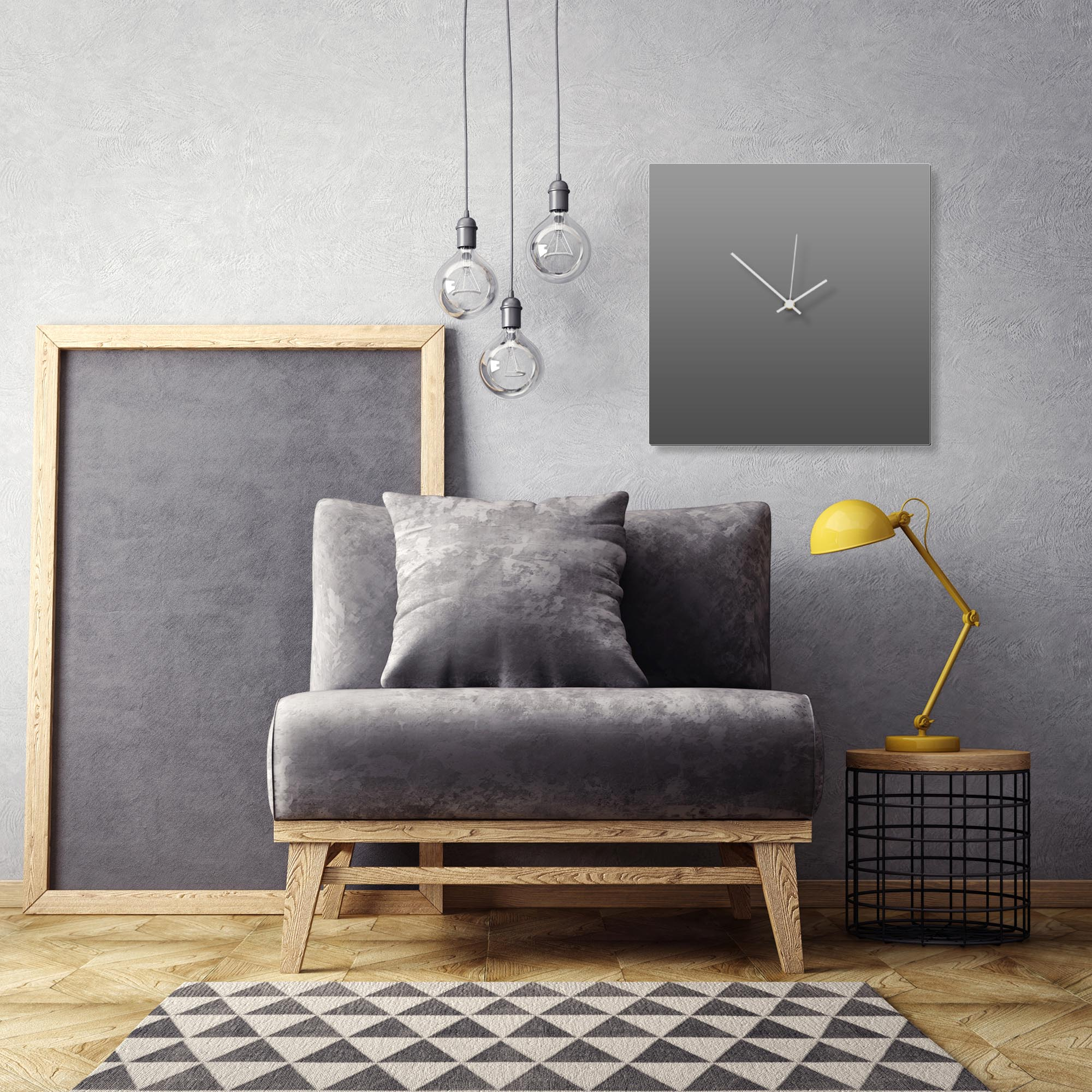 Grayout White Square Clock Large by Adam Schwoeppe Contemporary Clock on Aluminum Polymetal - Alternate View 1