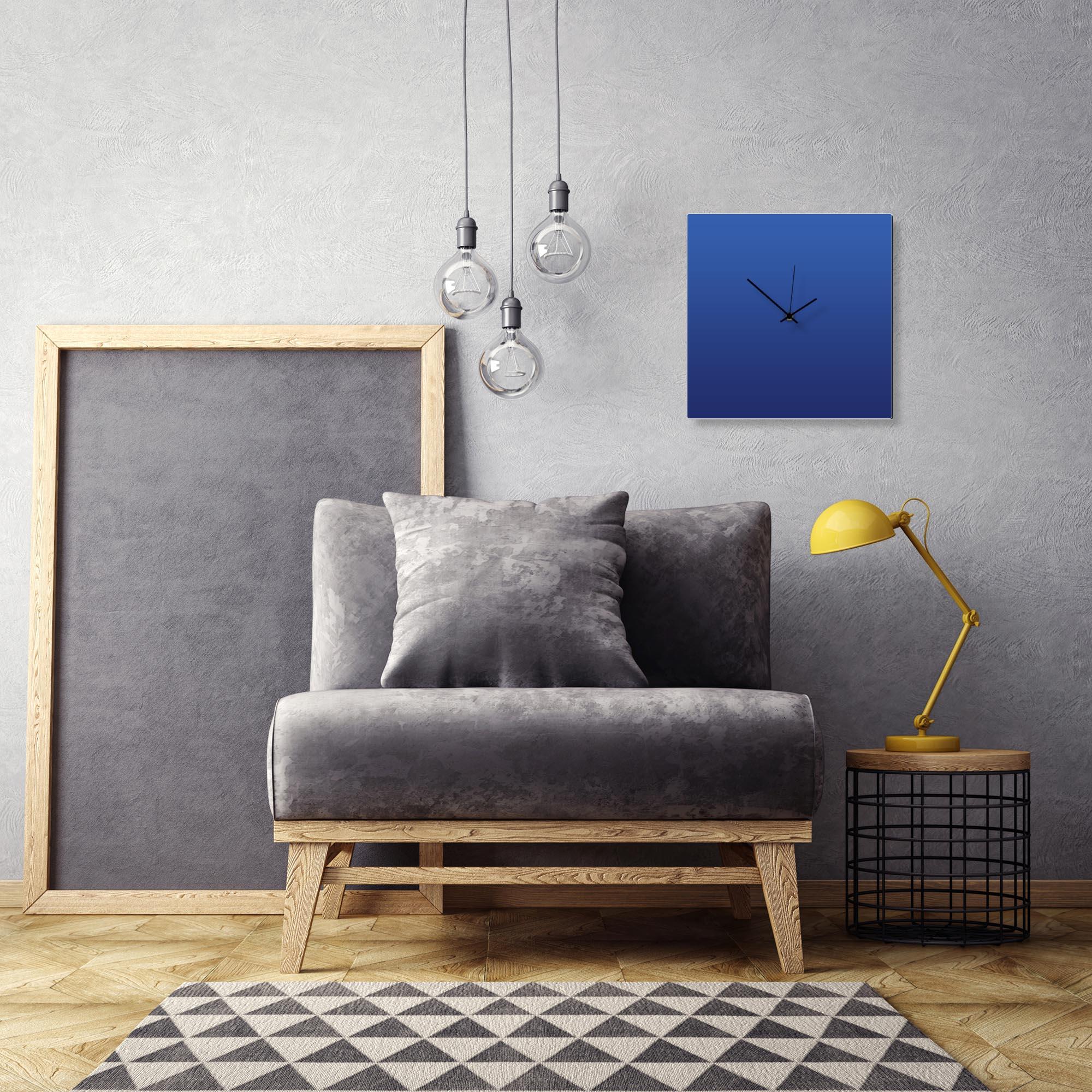 Blueout Black Square Clock by Adam Schwoeppe Contemporary Clock on Aluminum Polymetal - Alternate View 1