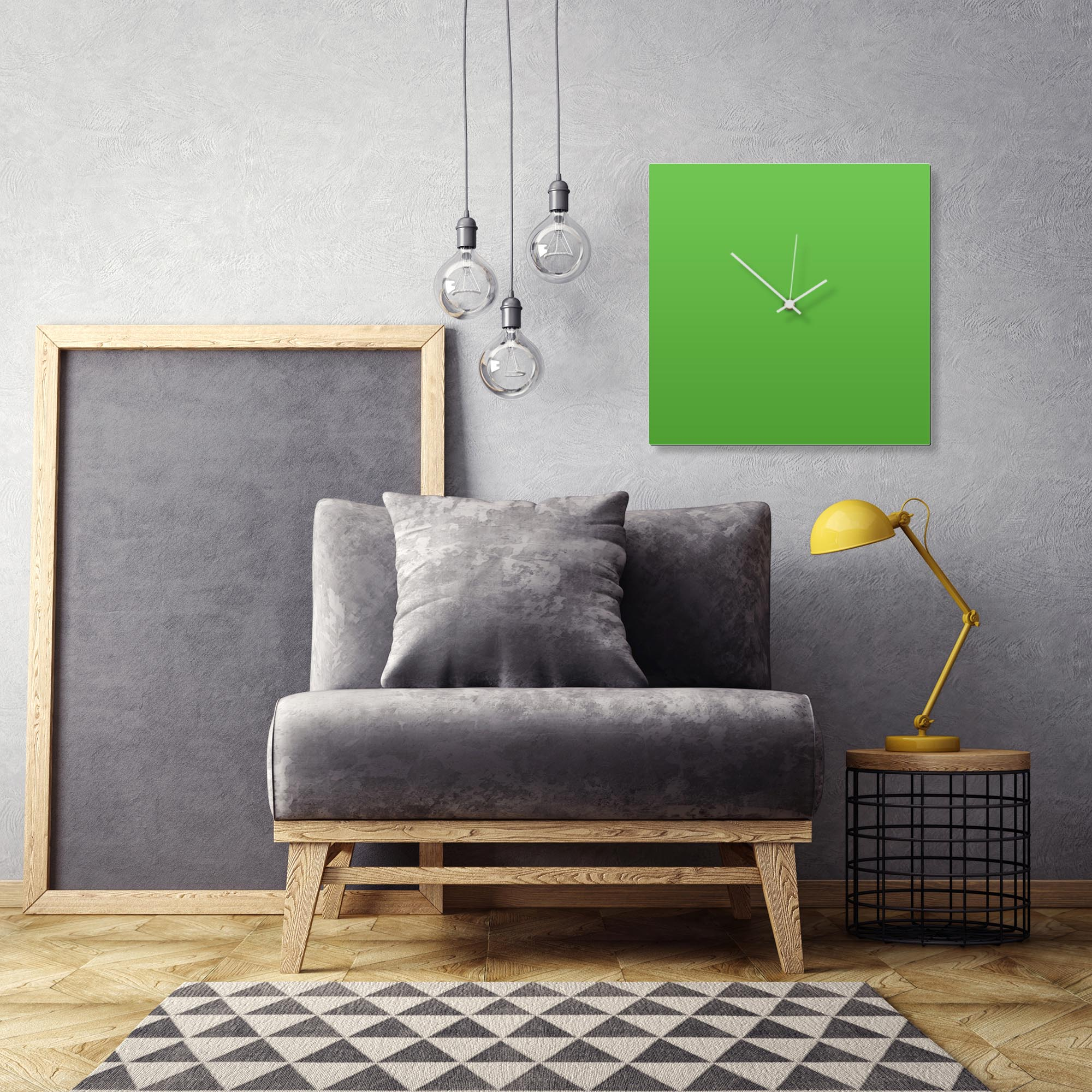 Greenout White Square Clock Large by Adam Schwoeppe Contemporary Clock on Aluminum Polymetal - Alternate View 1