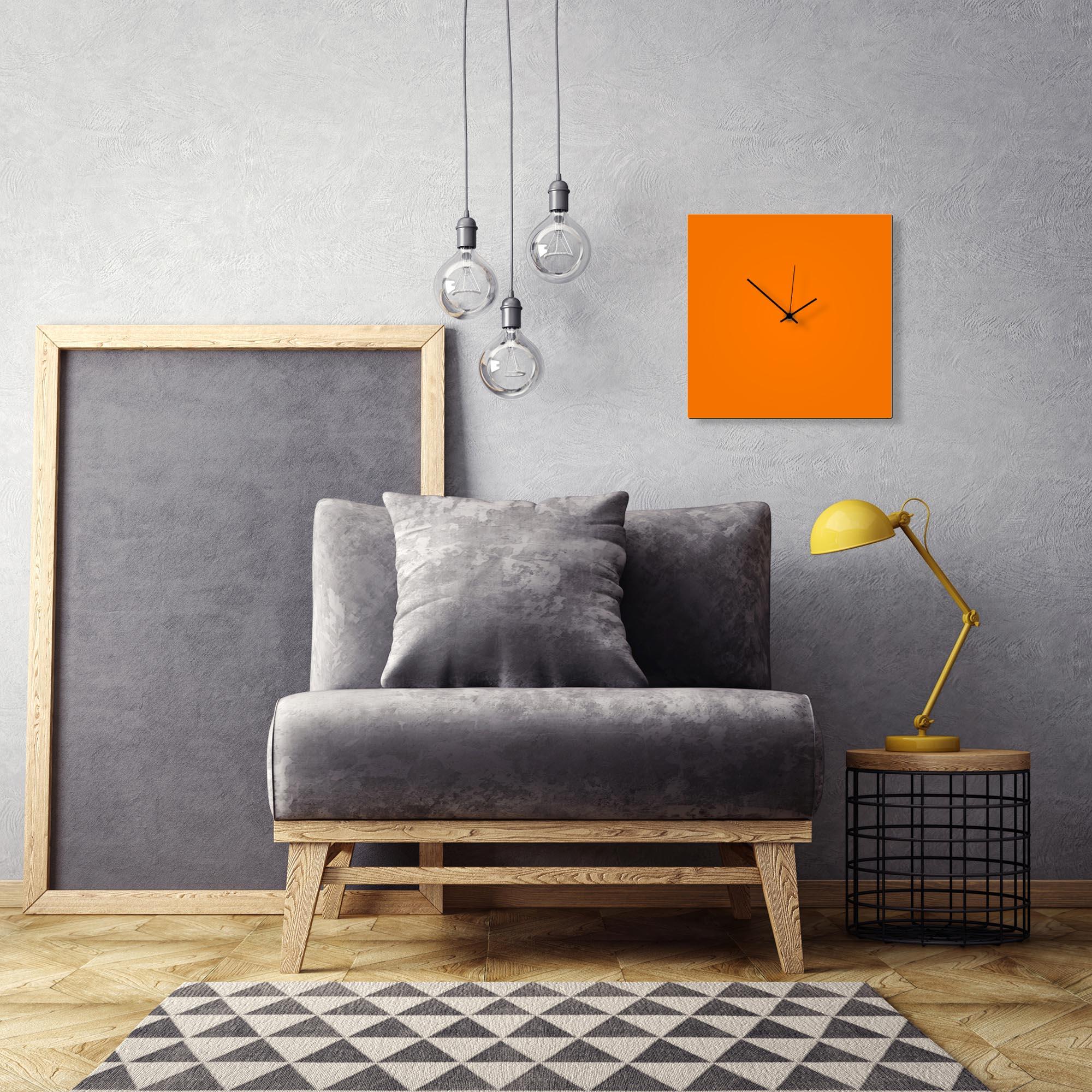 Orangeout Black Square Clock by Adam Schwoeppe Contemporary Clock on Aluminum Polymetal - Alternate View 1