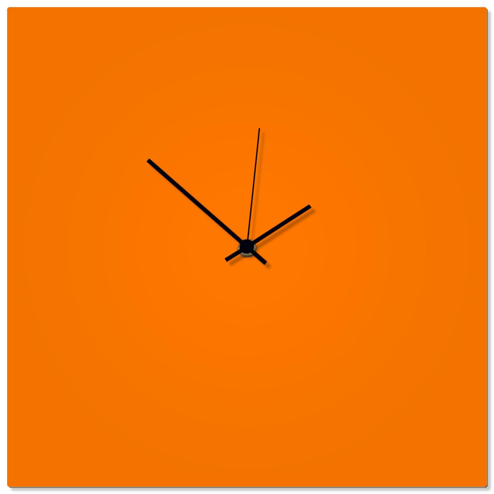 Orangeout Black Square Clock 16x16in. Aluminum Polymetal