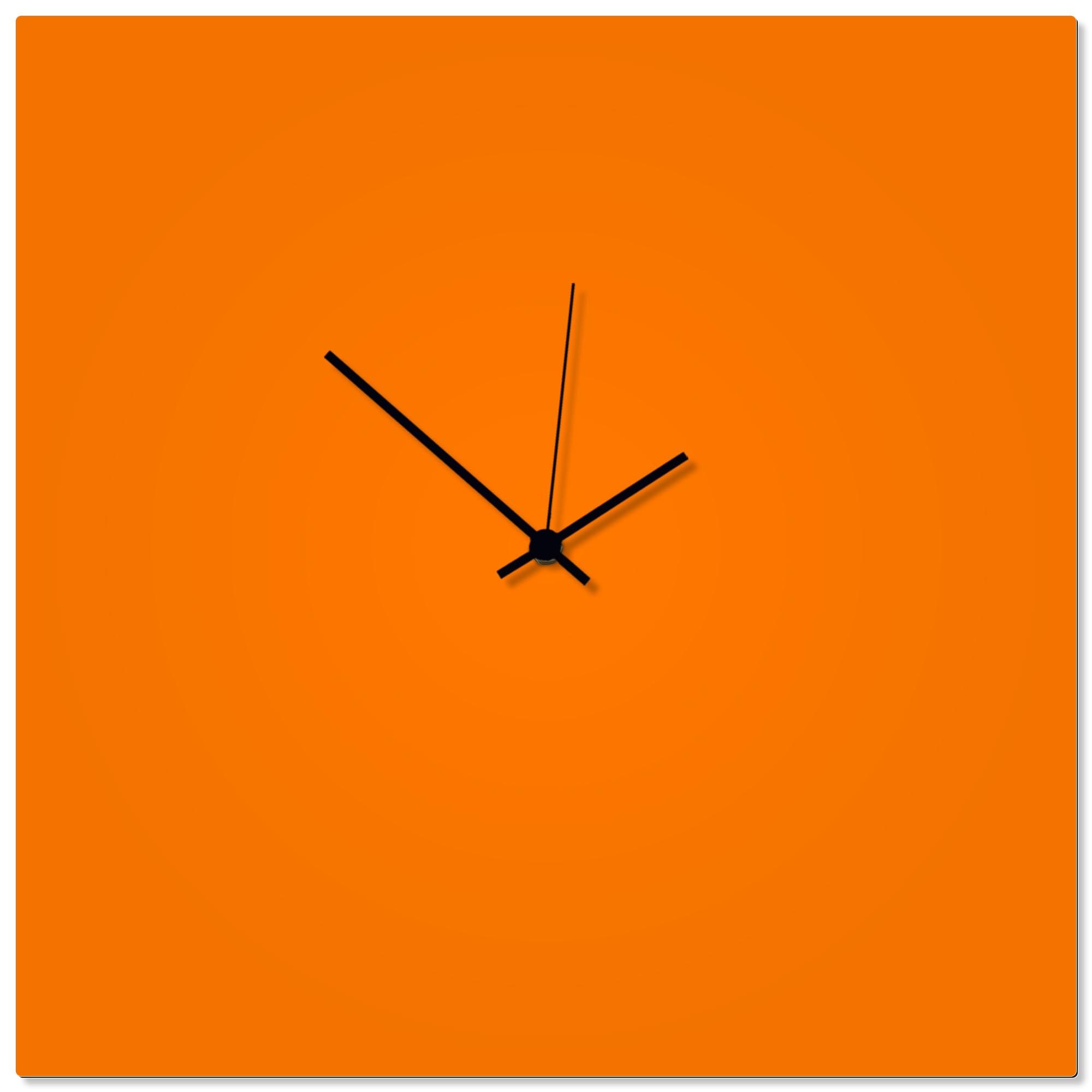 Orangeout Black Square Clock Large 23x23in. Aluminum Polymetal