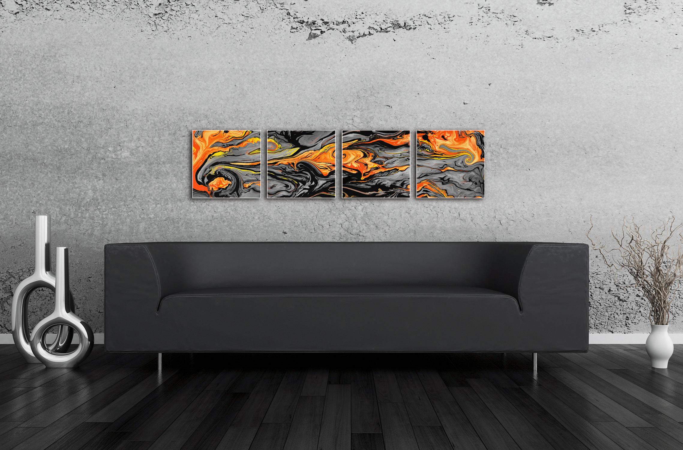 Lava Orange - Reverse-Print Acrylic Abstract Art - Lifestyle Image