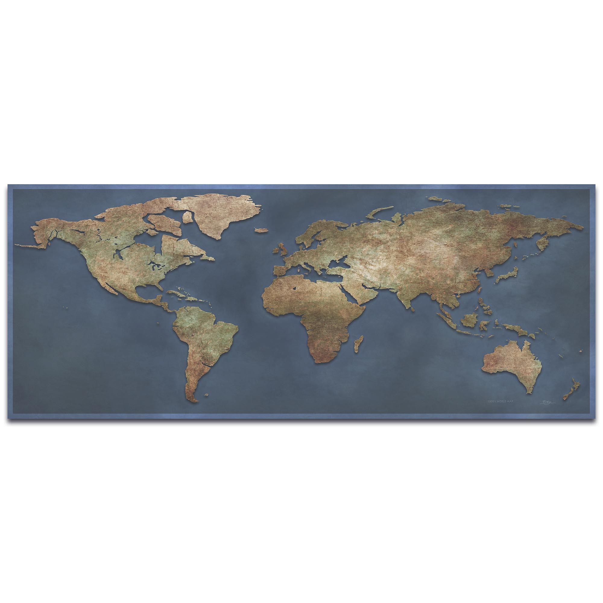 World Map Art '1800s World Map' - Old World Wall Decor on Metal or Acrylic