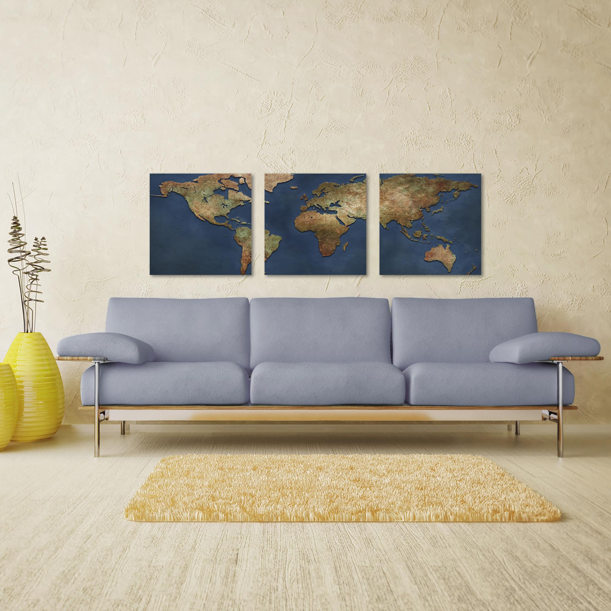 1800s World Map Triptych Large 70x22in. Metal or Acrylic Colonial Decor - Lifestyle View
