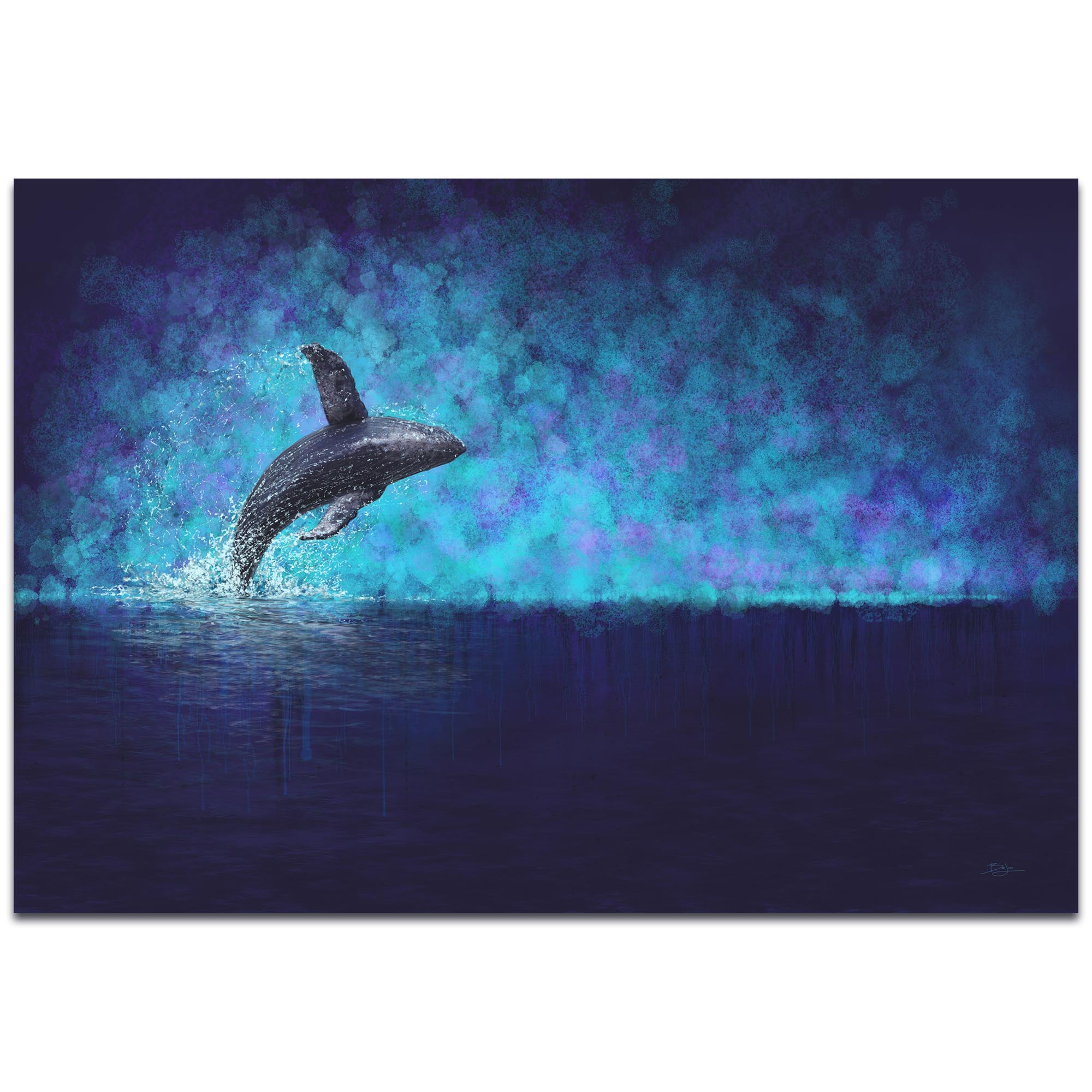 Whale Painting 'Breaching the Night' - Humpback Art on Metal or Acrylic